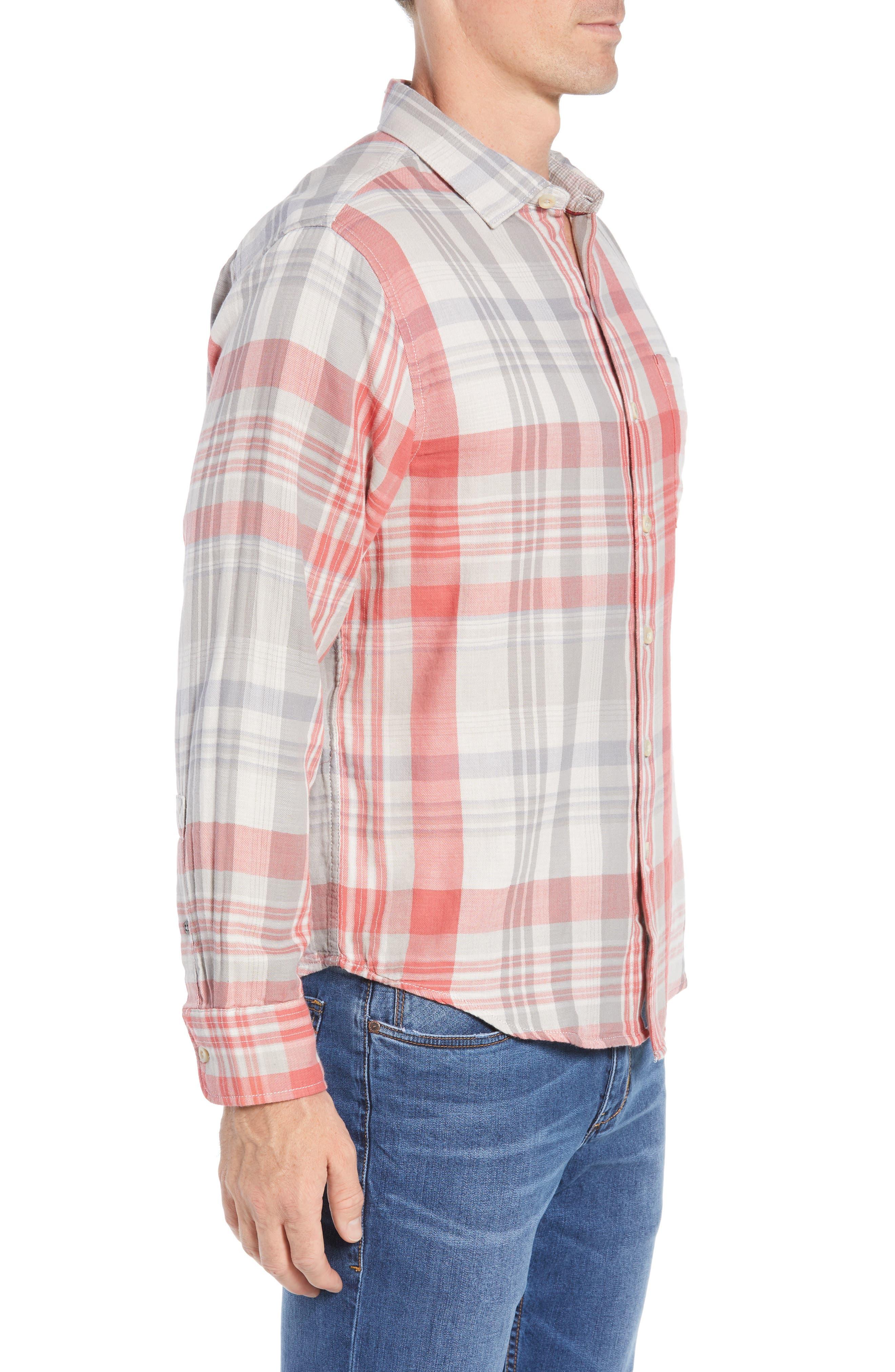 Monteverde Madras Regular Fit Shirt,                             Alternate thumbnail 4, color,                             POINCIANA