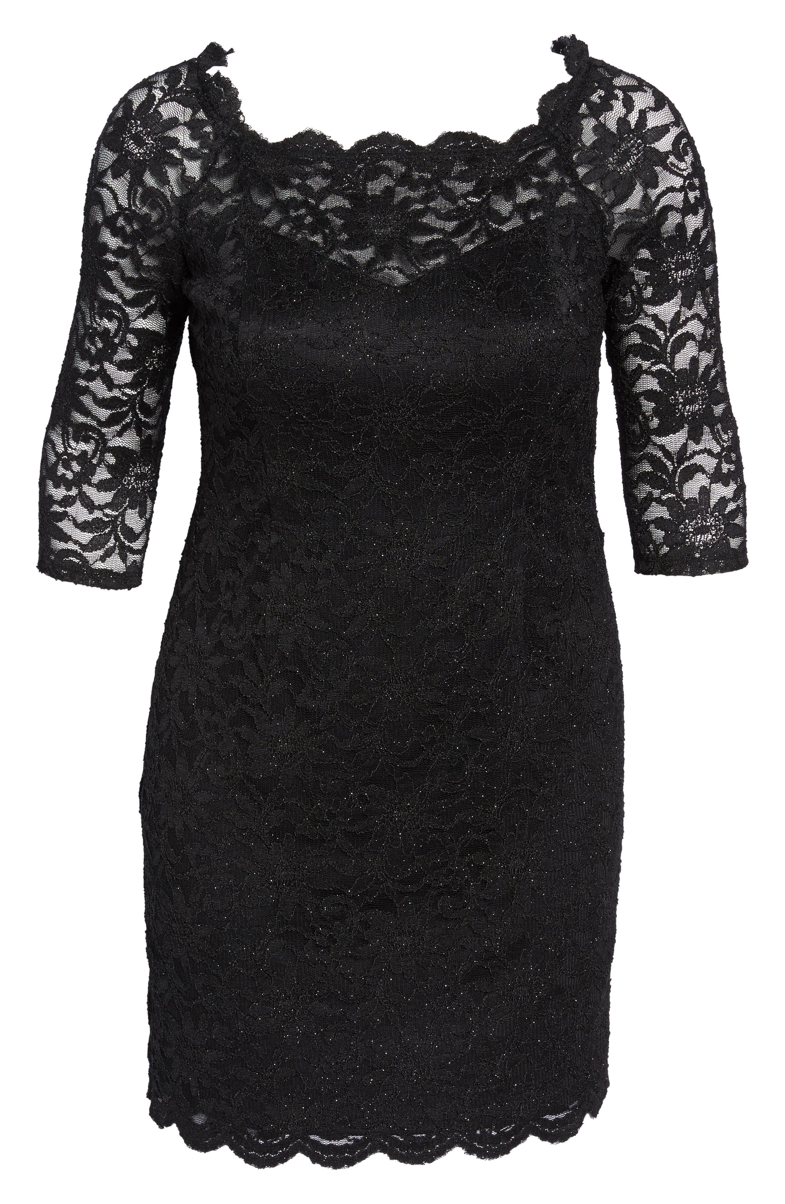 Glitter Lace Cocktail Dress,                             Alternate thumbnail 6, color,                             BLACK