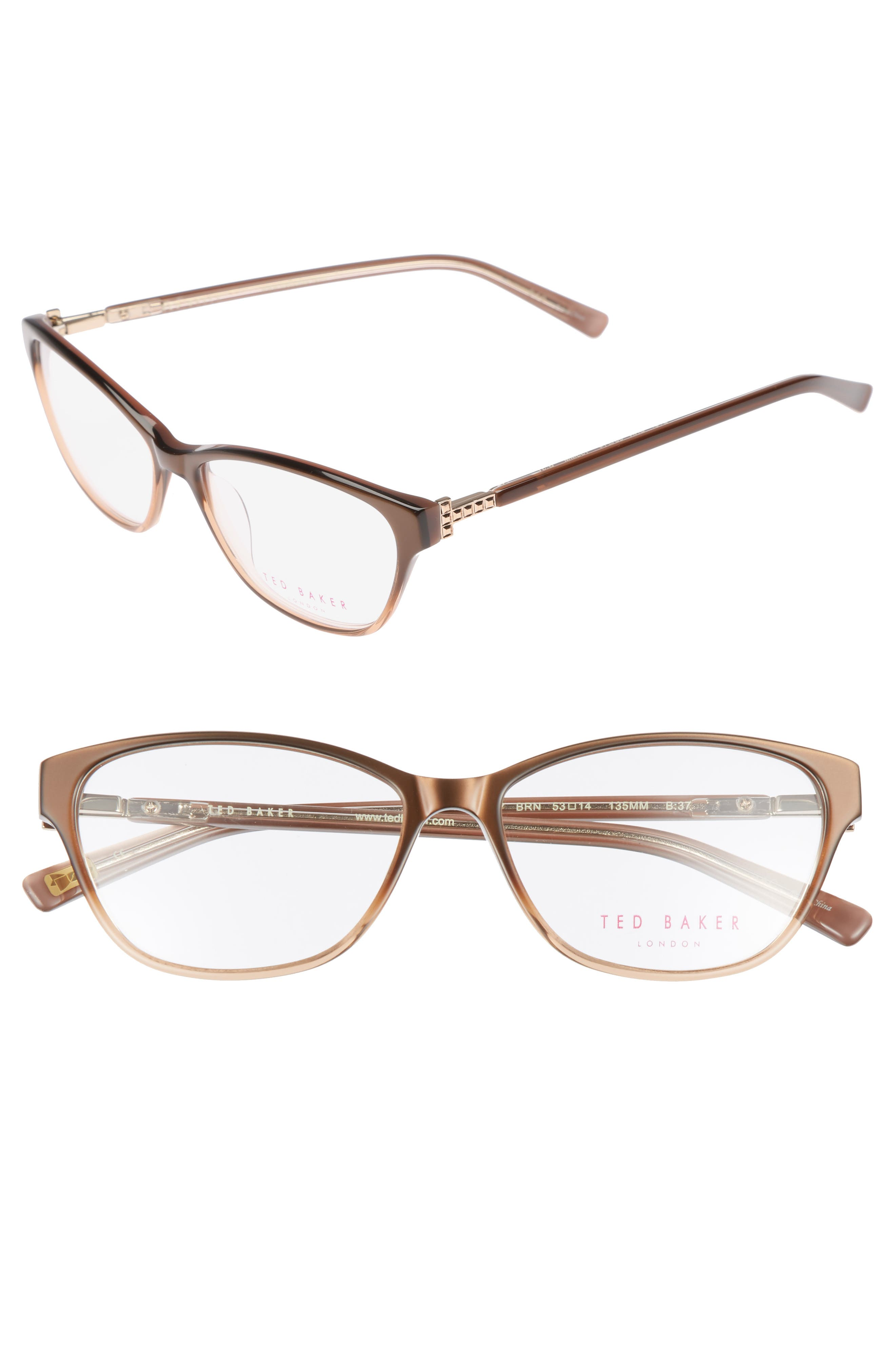 53mm Optical Cat Eye Glasses,                             Main thumbnail 1, color,                             200