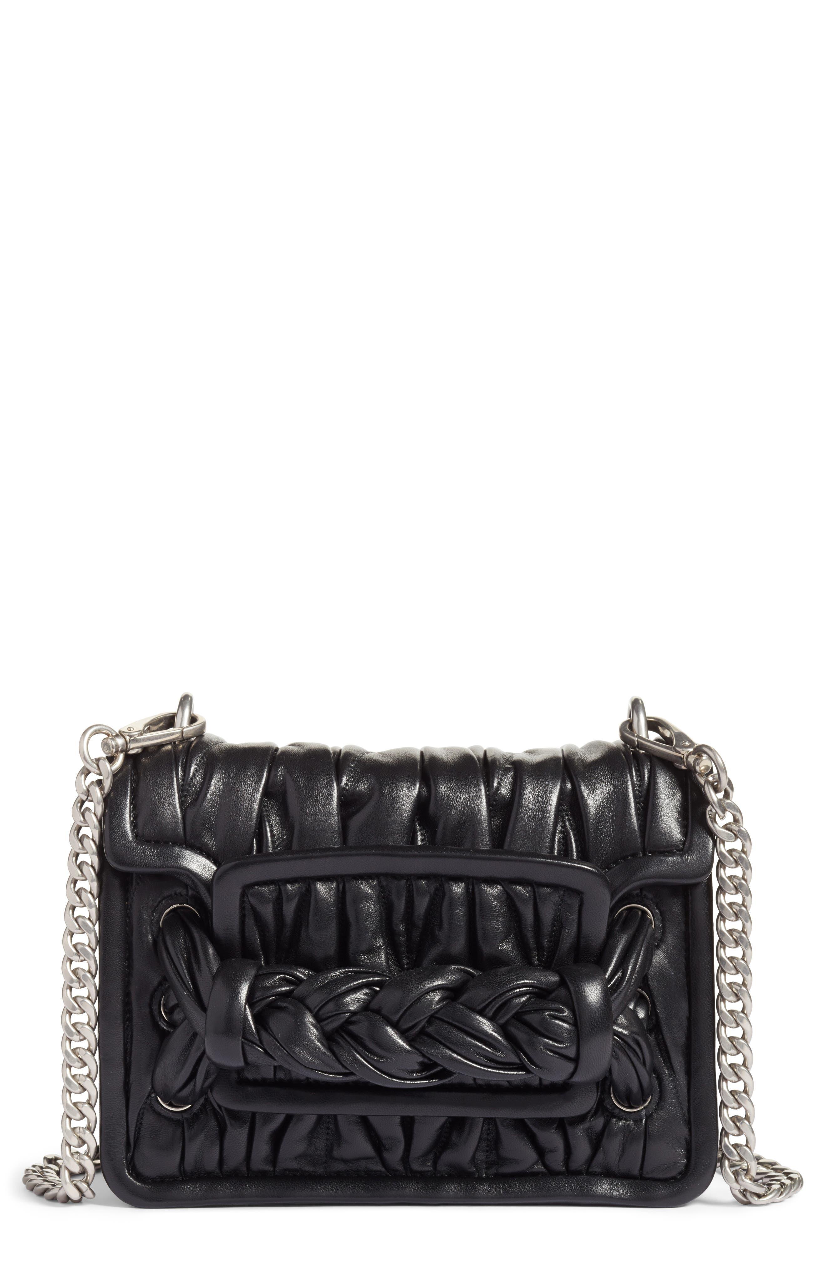 Matelassé Leather Shoulder Bag,                             Main thumbnail 1, color,                             001