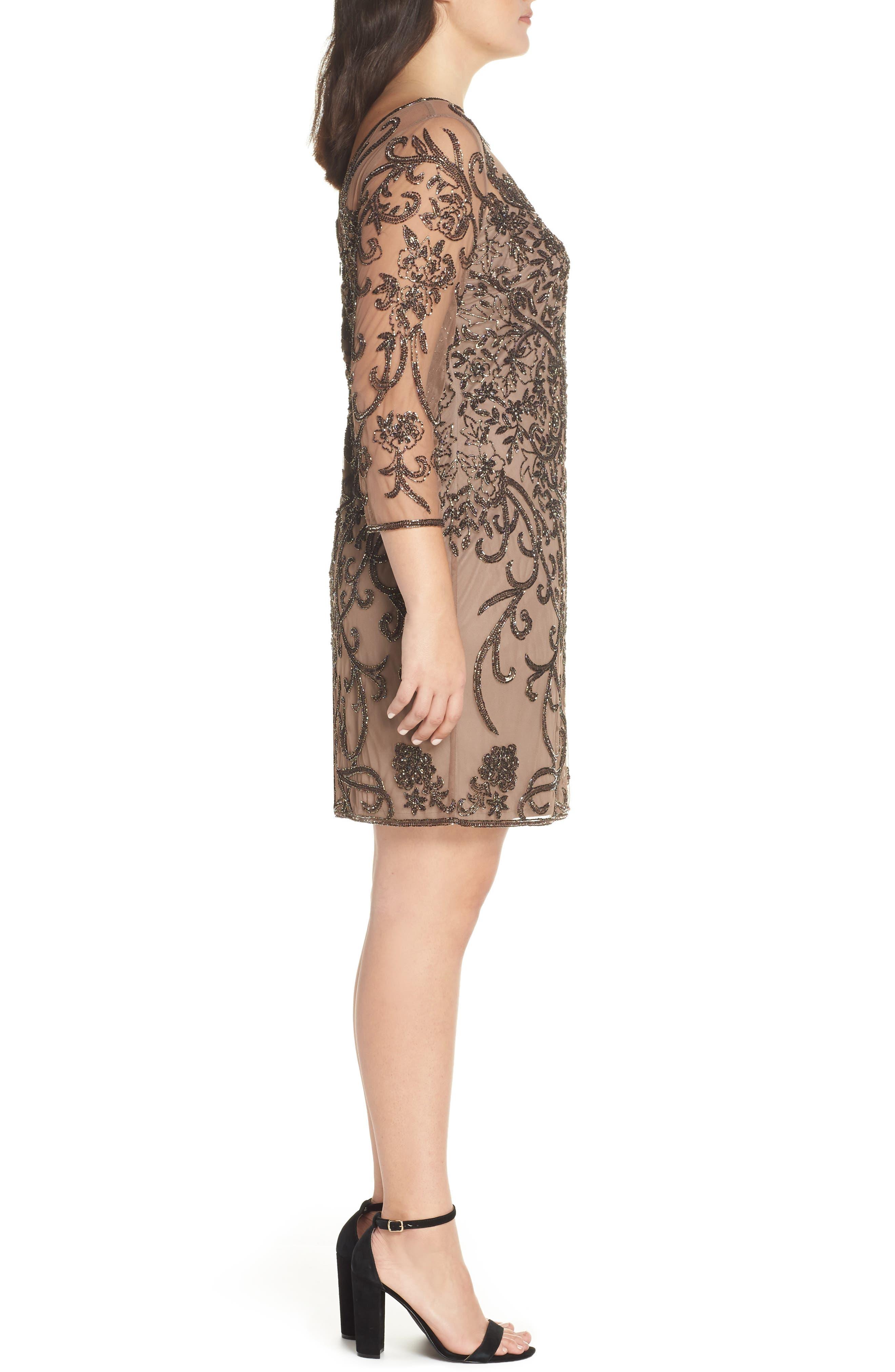 Embellished Mesh Sheath Dress,                             Alternate thumbnail 10, color,                             MOCHA