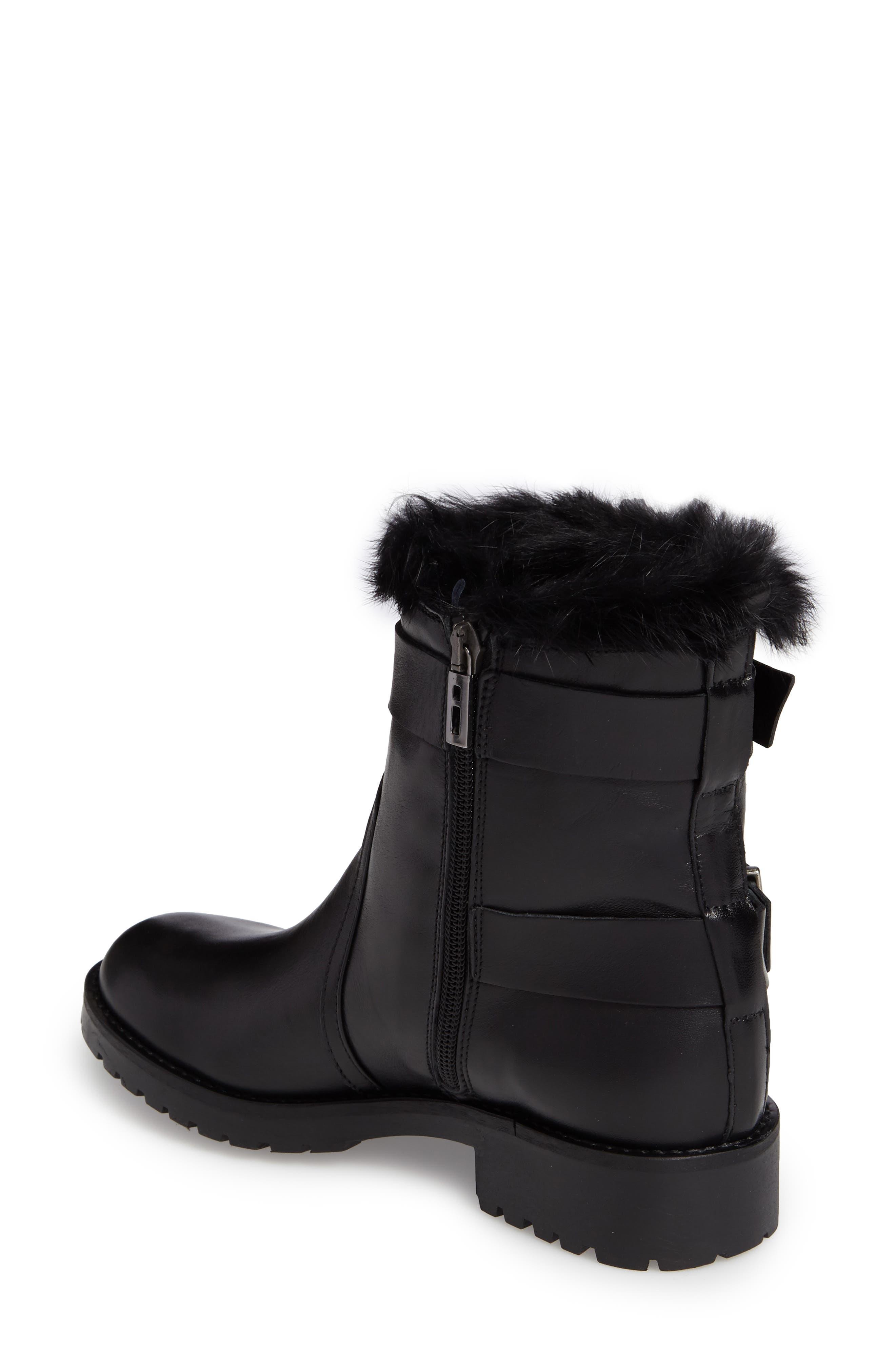 Rustic Genuine Rabbit Fur Cuff Boot,                             Alternate thumbnail 2, color,                             001