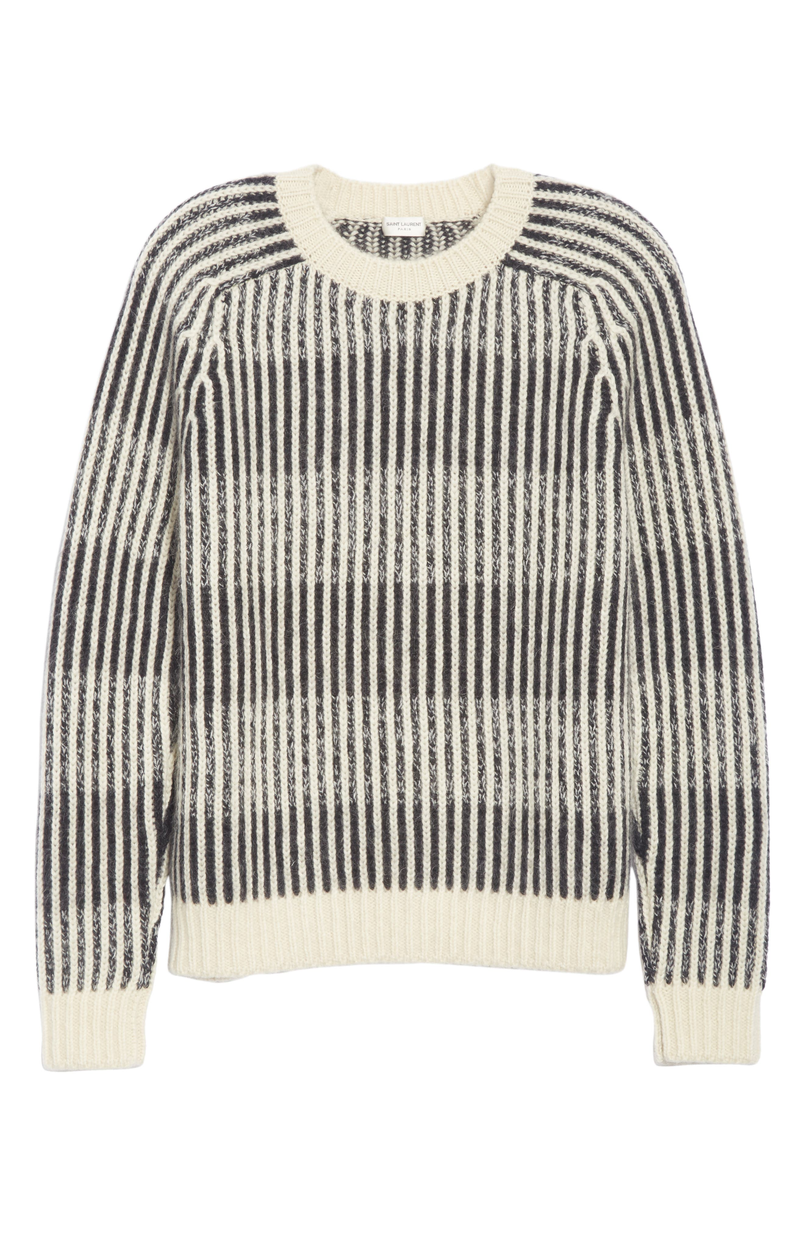 SAINT LAURENT,                             Contrast Rib Wool & Alpaca Blend Sweater,                             Alternate thumbnail 6, color,                             134