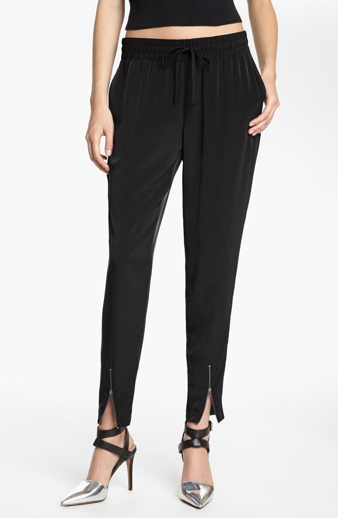 LEITH,                             Woven Zip Cuff Track Pants,                             Main thumbnail 1, color,                             001