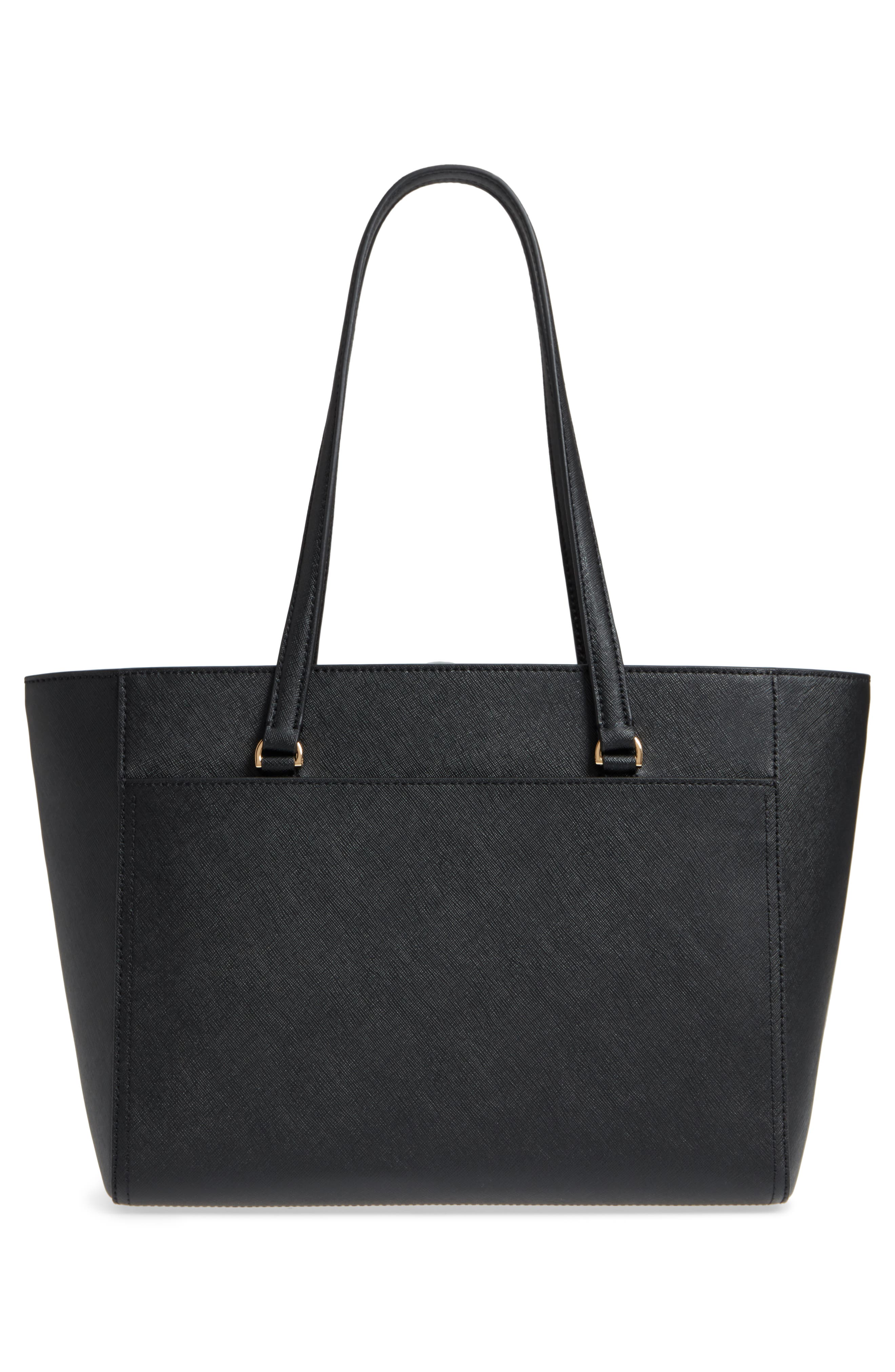Small Robinson Leather Tote,                             Alternate thumbnail 3, color,                             BLACK / ROYAL NAVY
