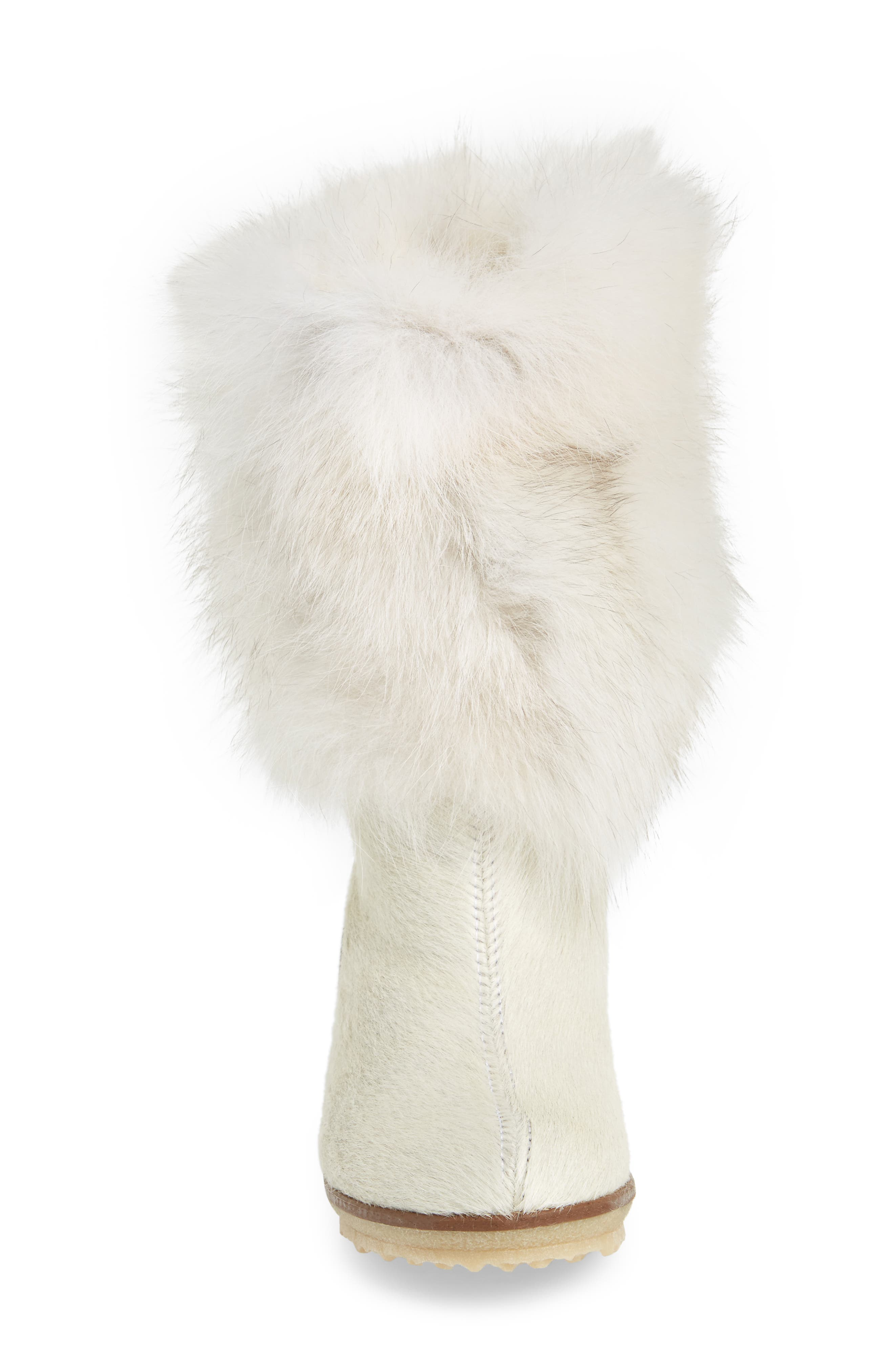 Angelina Genuine Fox Fur Wedge Boot,                             Alternate thumbnail 14, color,