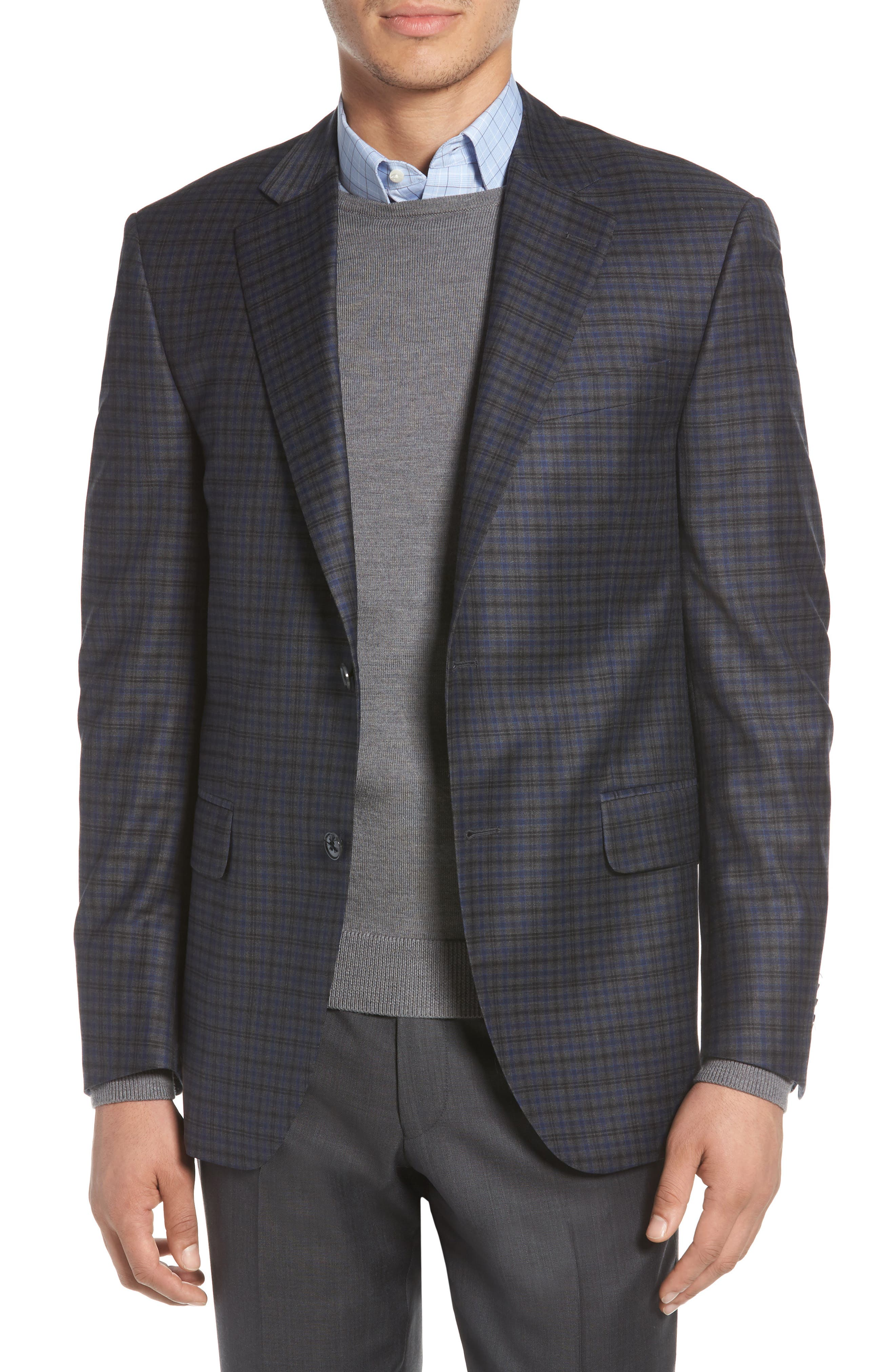 PETER MILLAR Classic Fit Windowpane Check Wool Sport Coat, Main, color, 020