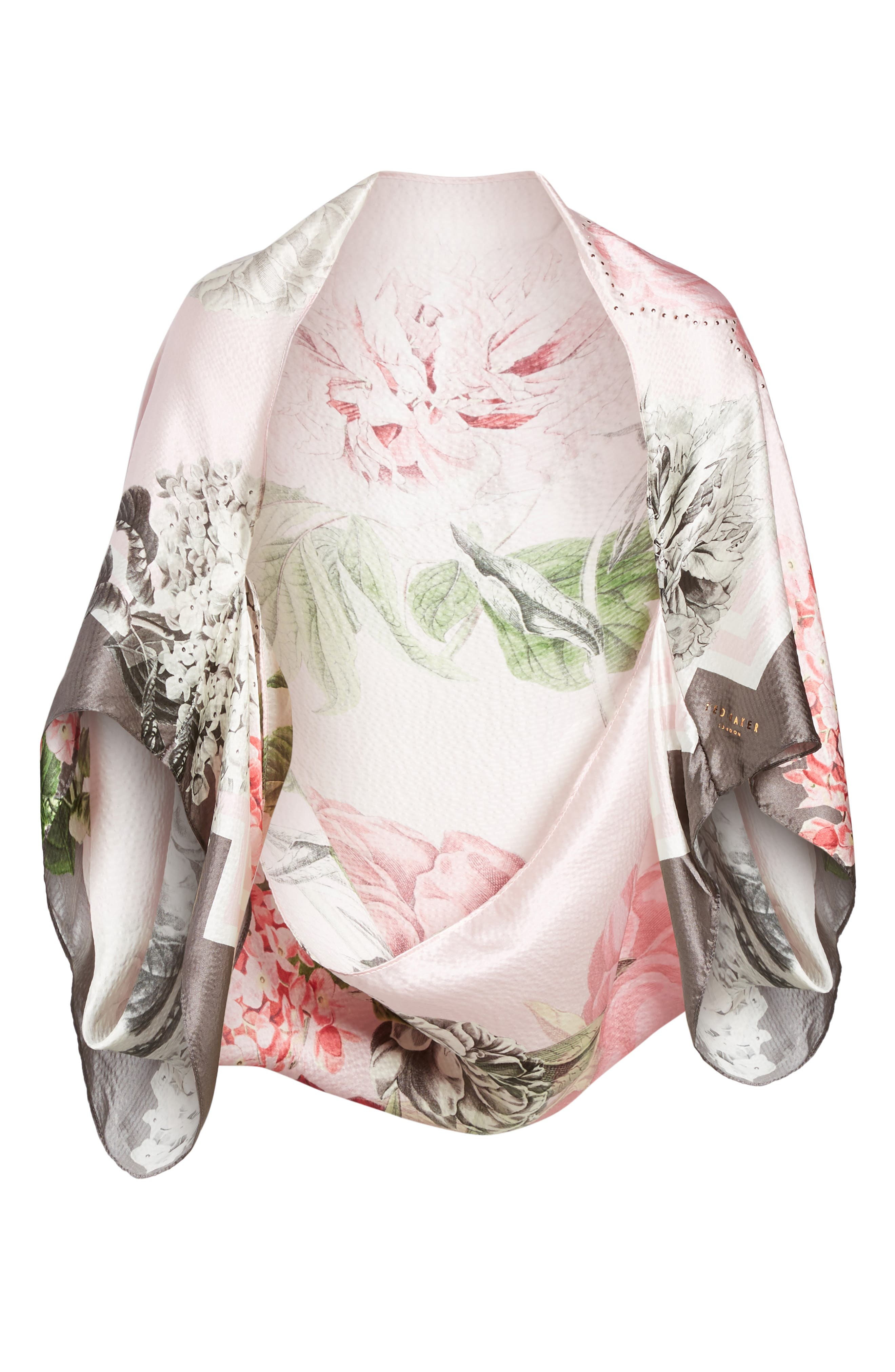 Palace Gardens Silk Cape Scarf,                             Alternate thumbnail 6, color,                             DUSKY PINK