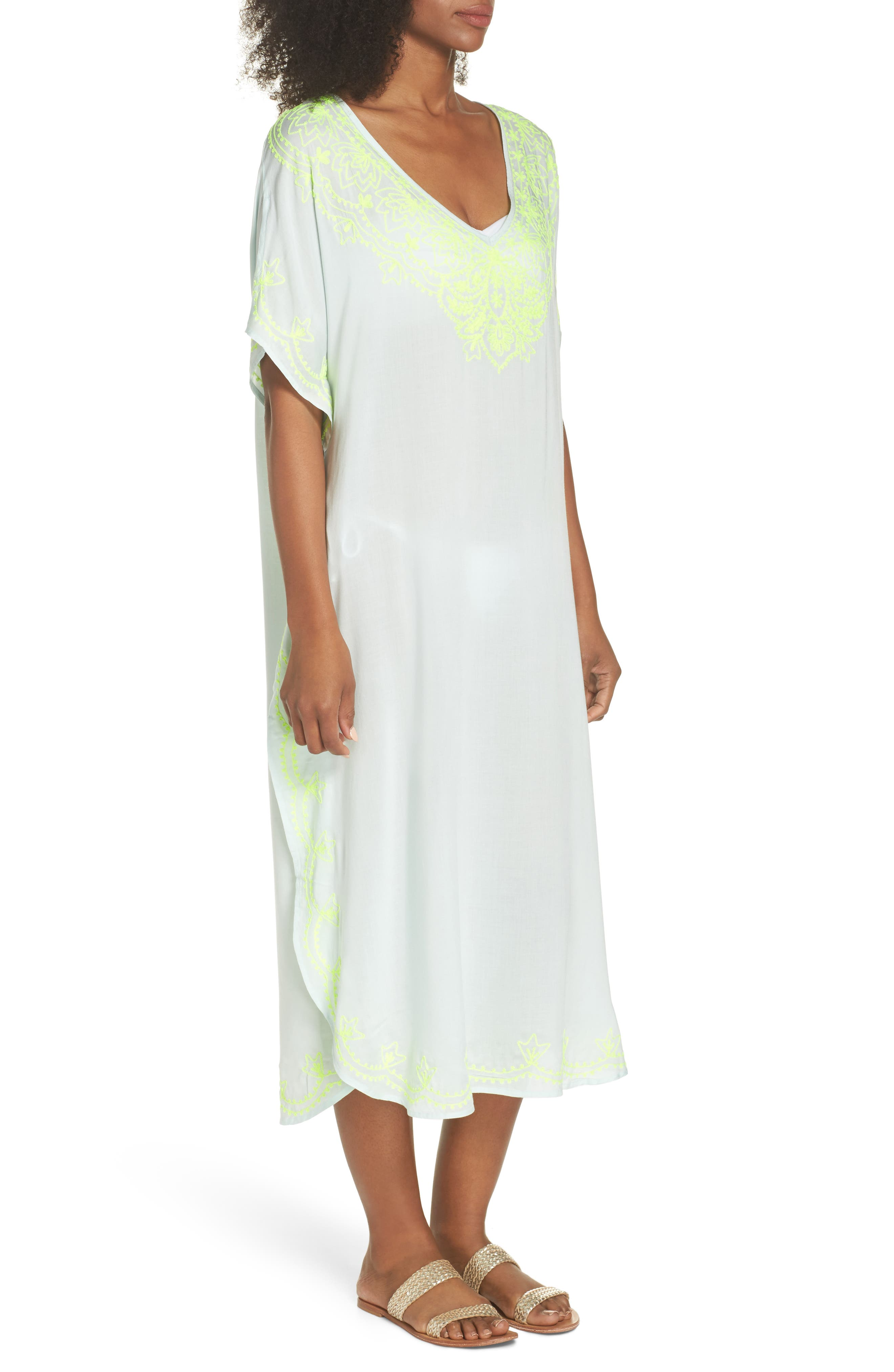 Embroidered Cover-Up Caftan,                             Alternate thumbnail 3, color,                             SEAFOAM