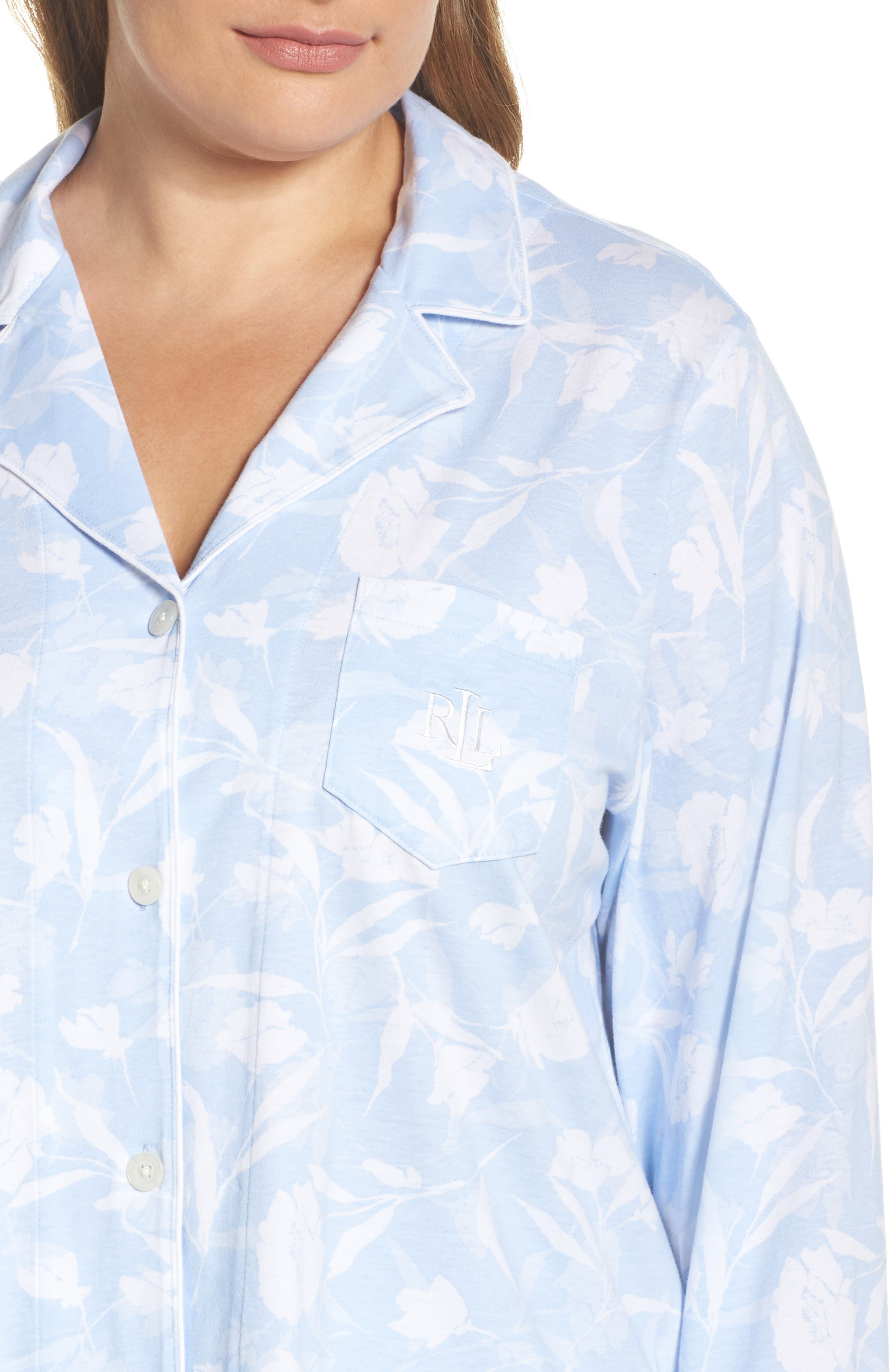 Floral Print Jersey Pajamas,                             Alternate thumbnail 4, color,