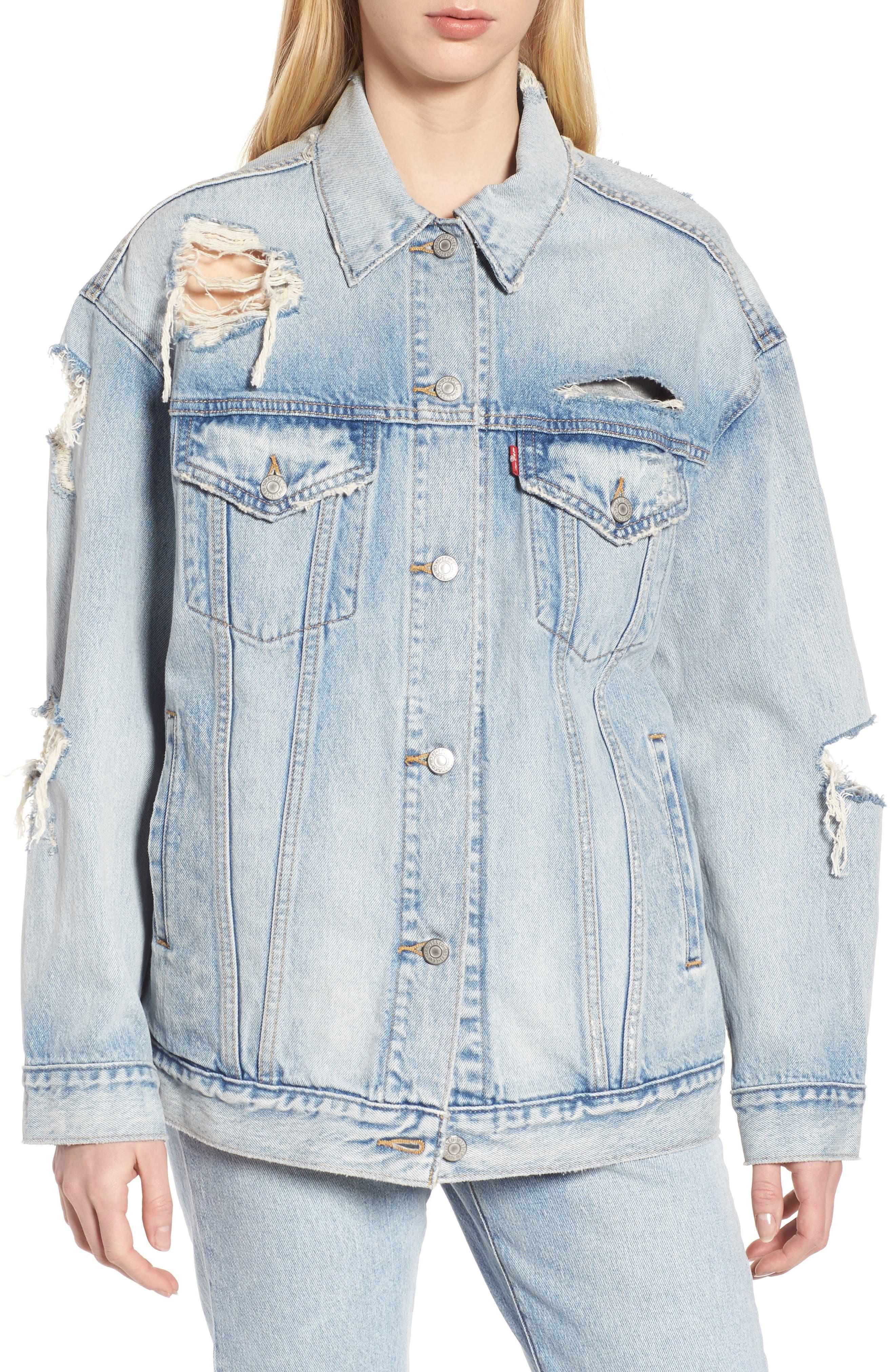 Levis<sup>®</sup> Baggy Trucker Denim Jacket,                         Main,                         color, 401