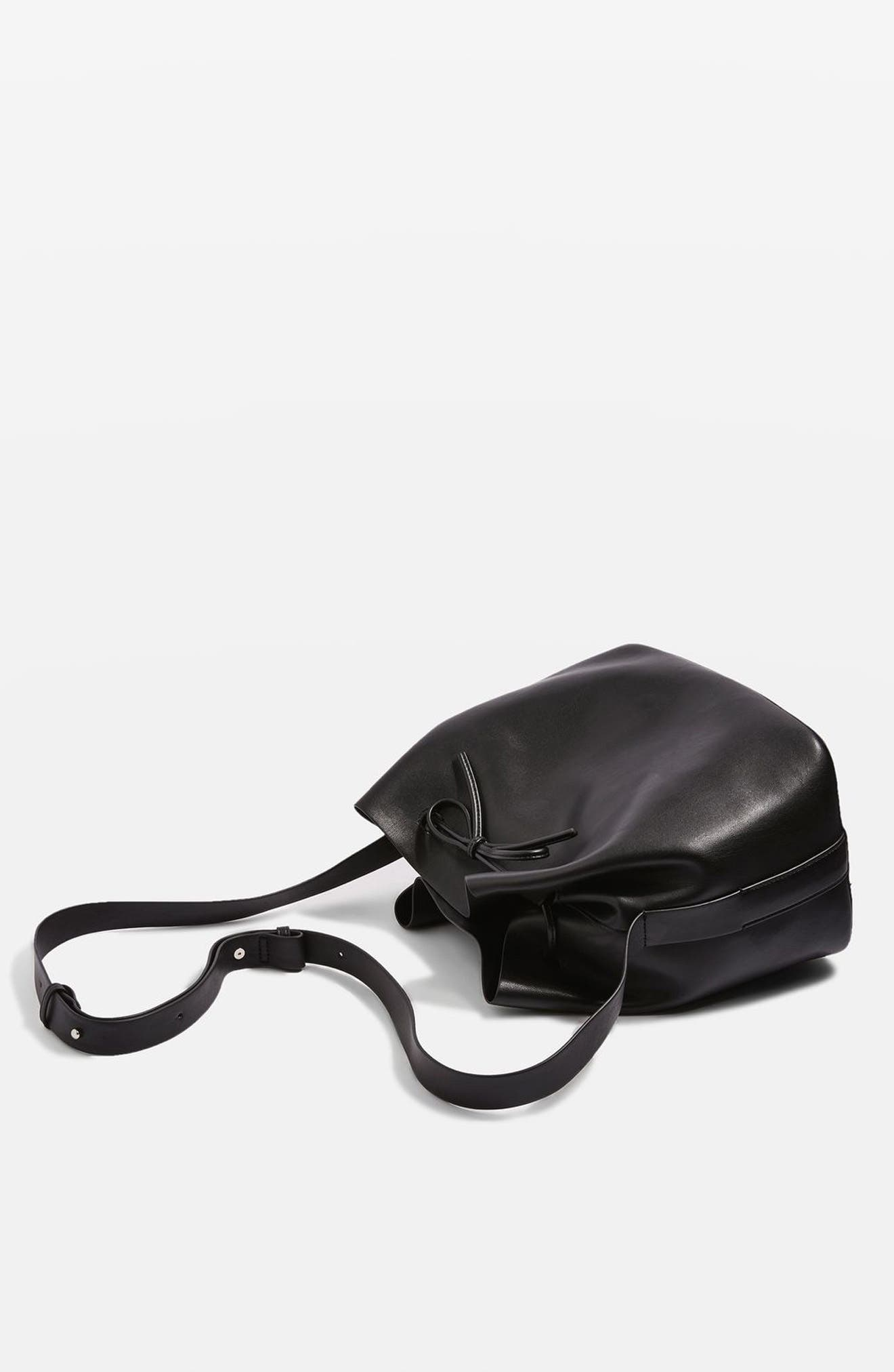 Stella Faux Leather Bucket Bag,                             Alternate thumbnail 10, color,                             001