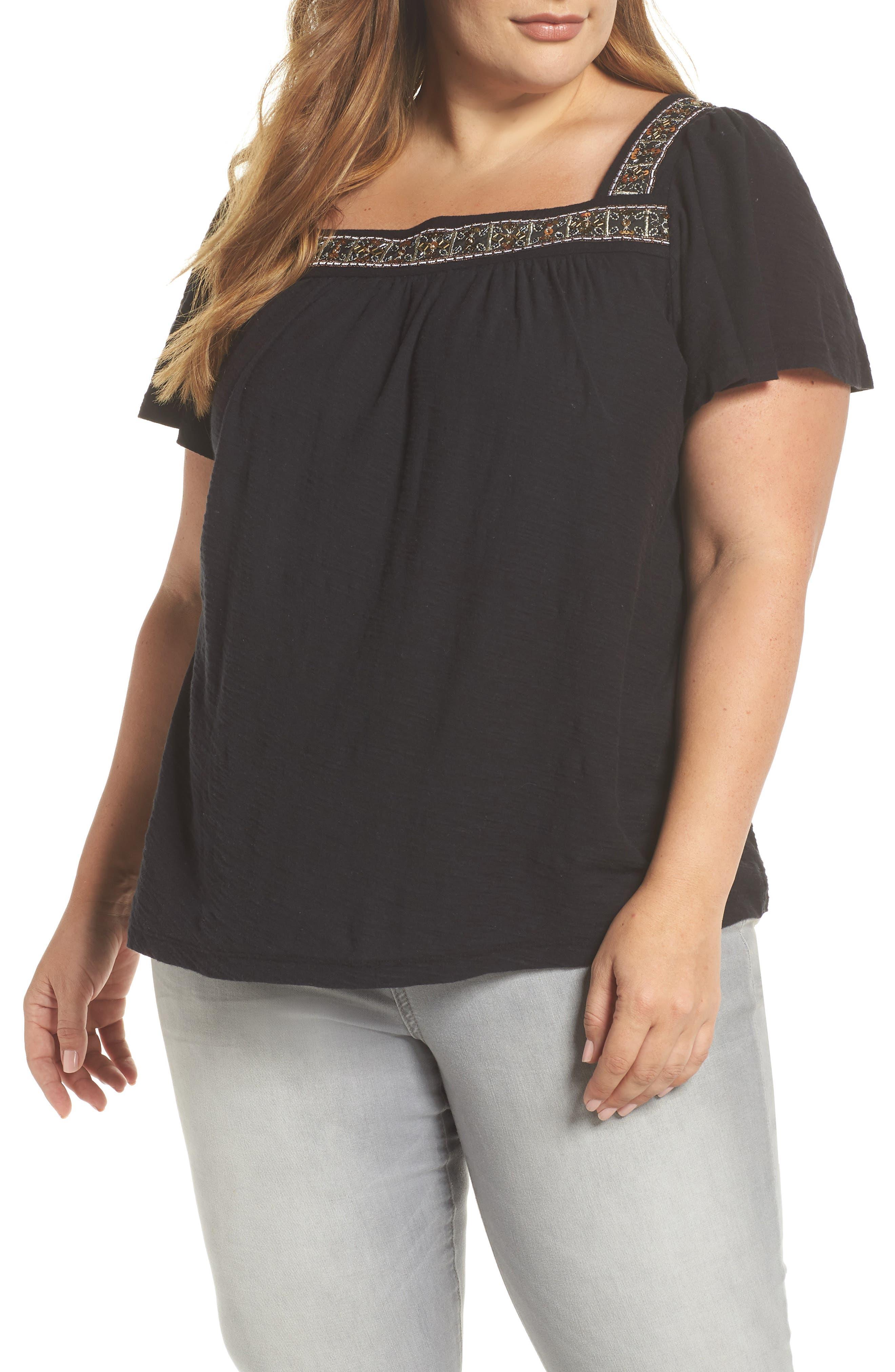 Beaded Neck Top,                         Main,                         color, RICH BLACK