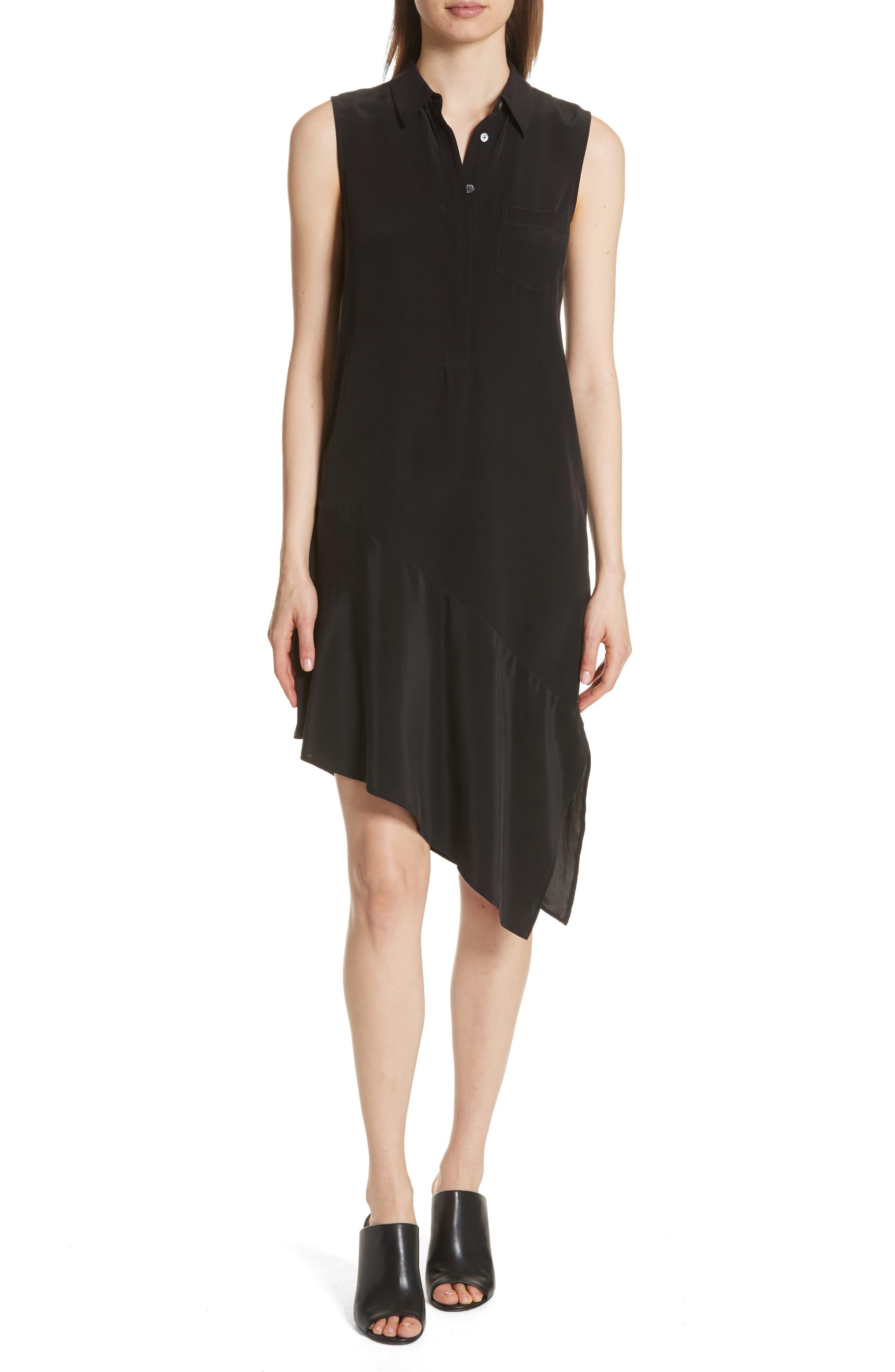 Tira Asymmetrical Hem Silk Shirtdress,                         Main,                         color, 003