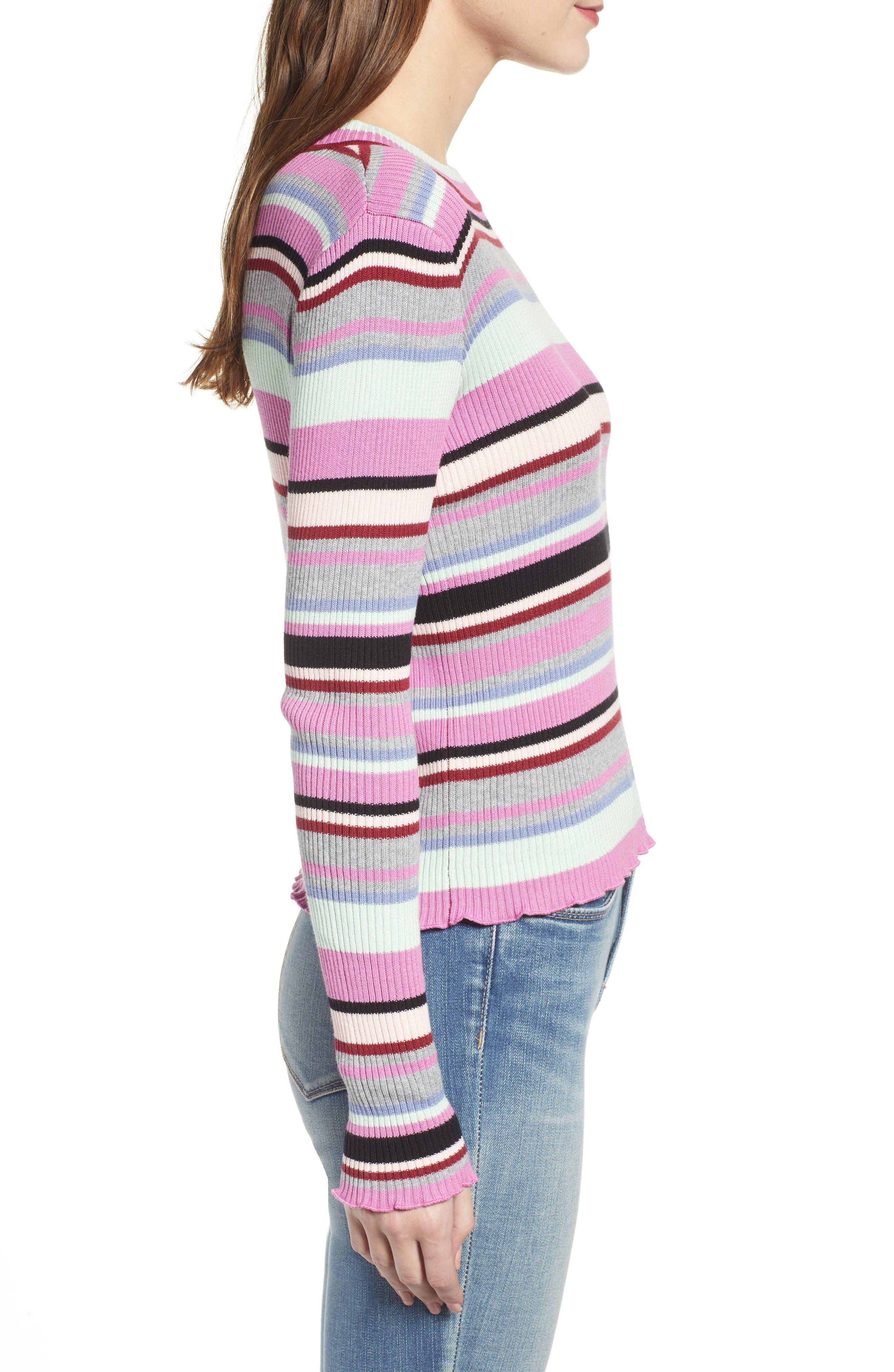 Ribbed Lettuce Edge Stripe Sweater,                             Alternate thumbnail 3, color,                             PURPLE TAFFY KARA MULTI STRIPE