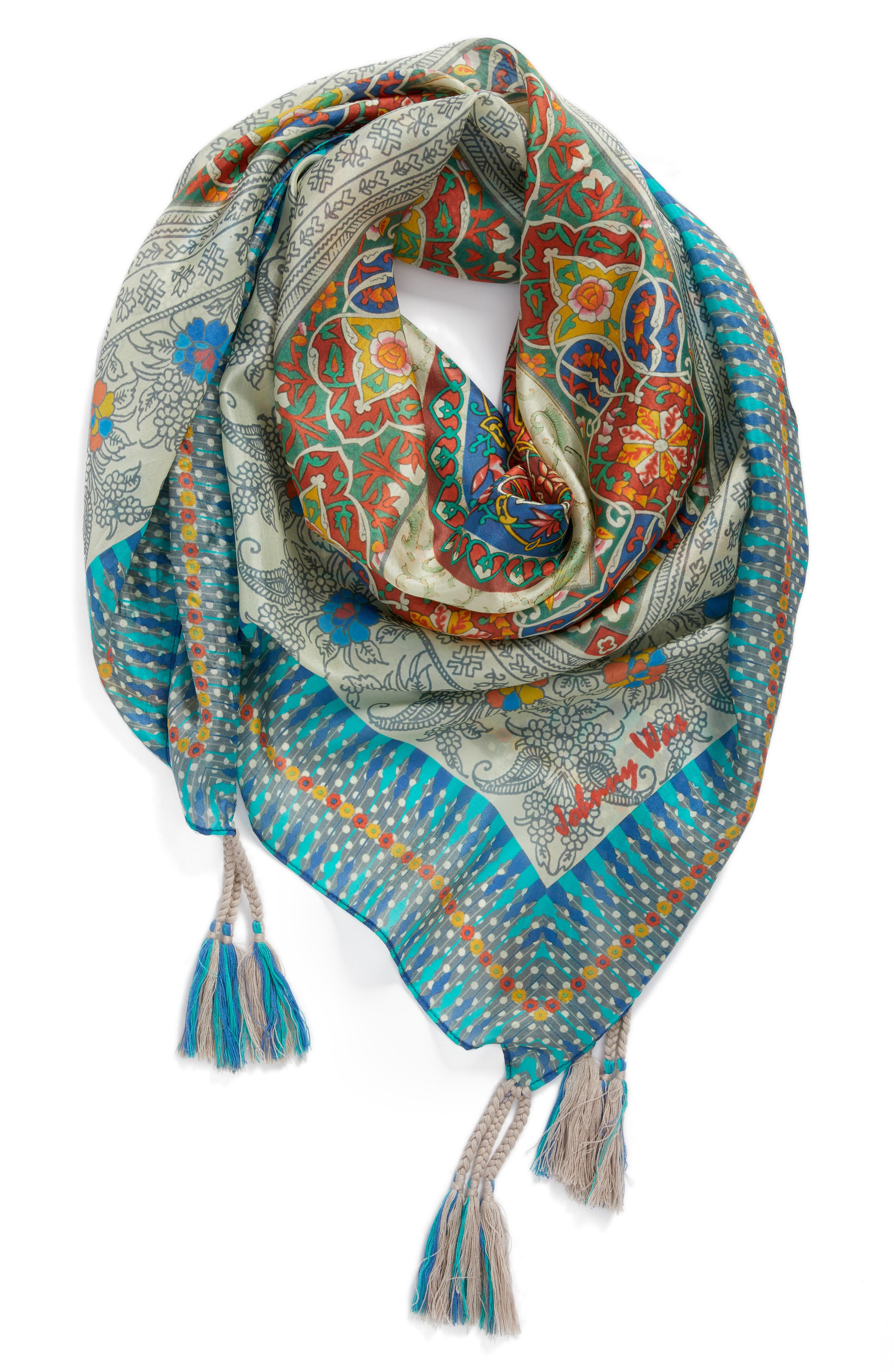Flores Silk Square Scarf,                             Alternate thumbnail 3, color,                             400
