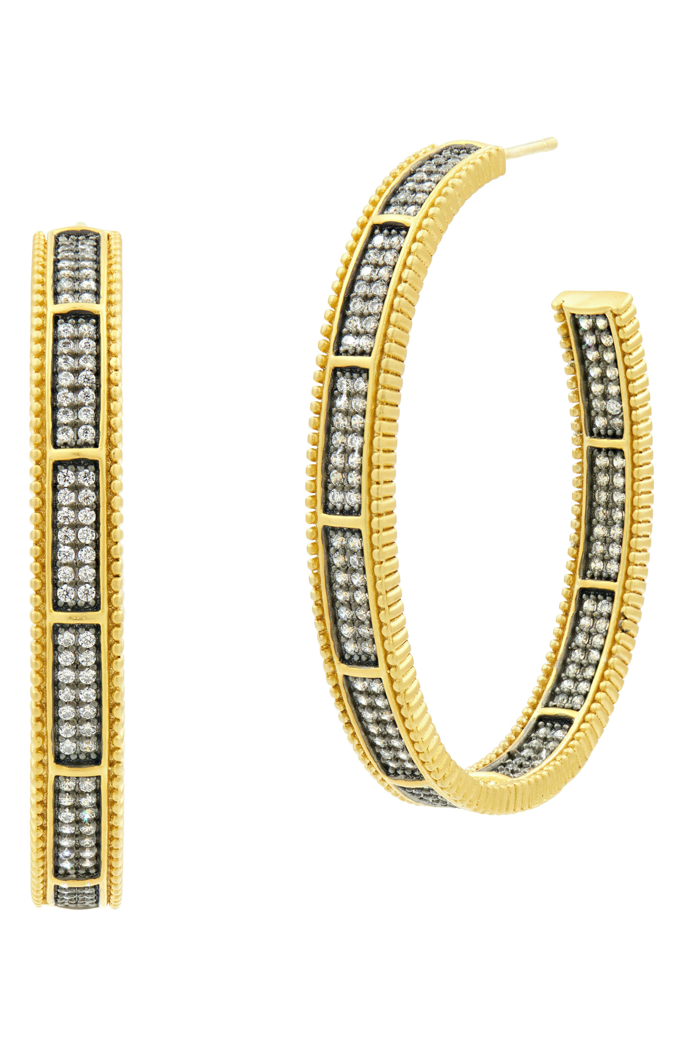 All Around Cubic Zirconia Hoops,                             Main thumbnail 1, color,