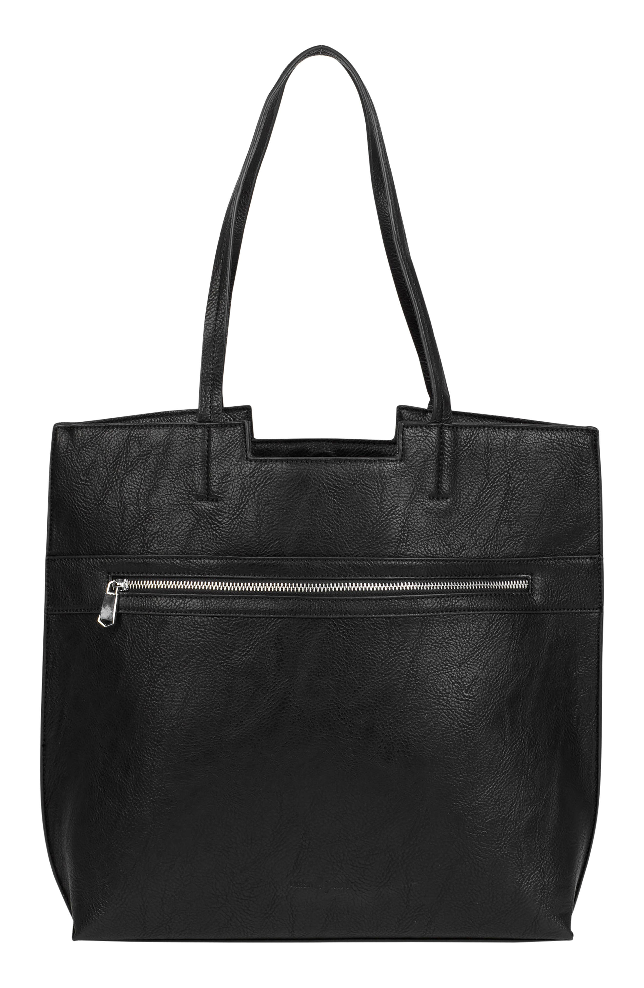 Timeless Vegan Leather Tote,                         Main,                         color, BLACK