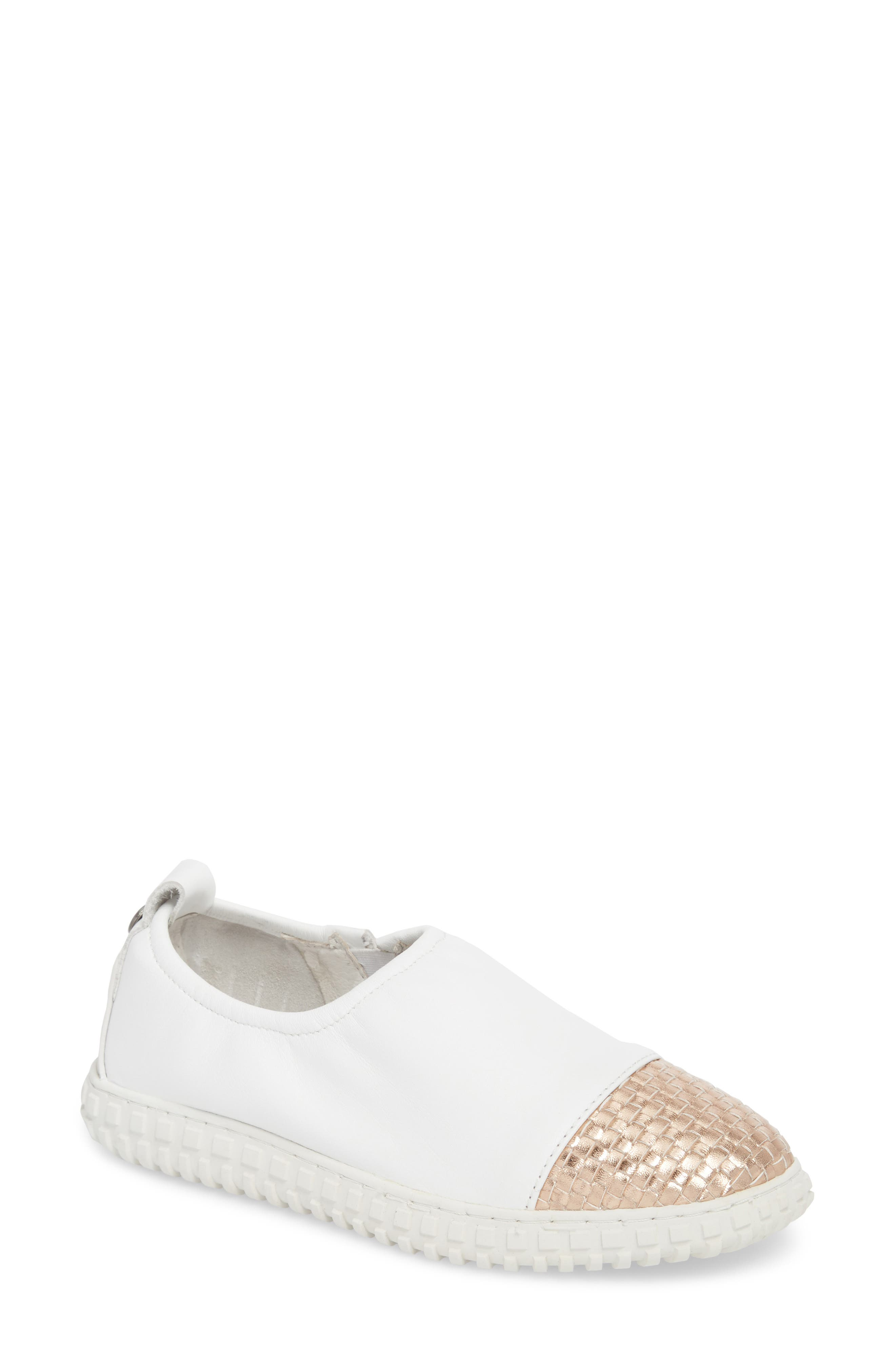 TW103 Slip-On Flat,                             Main thumbnail 1, color,                             WHITE/ ROSE GOLD WOVEN LEATHER