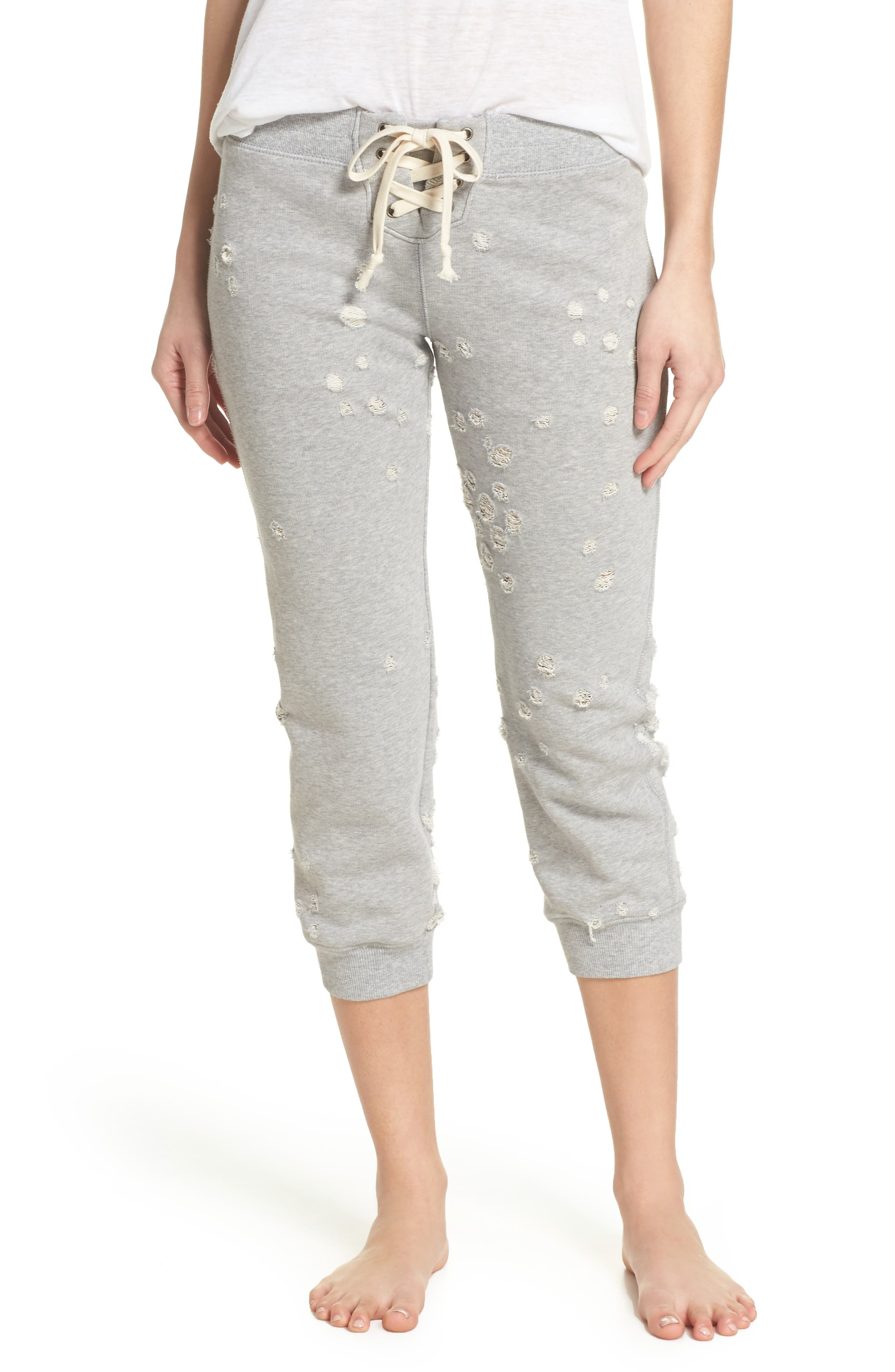 Distressed Crop Lounge Pants,                             Main thumbnail 1, color,                             HEATHER GREY