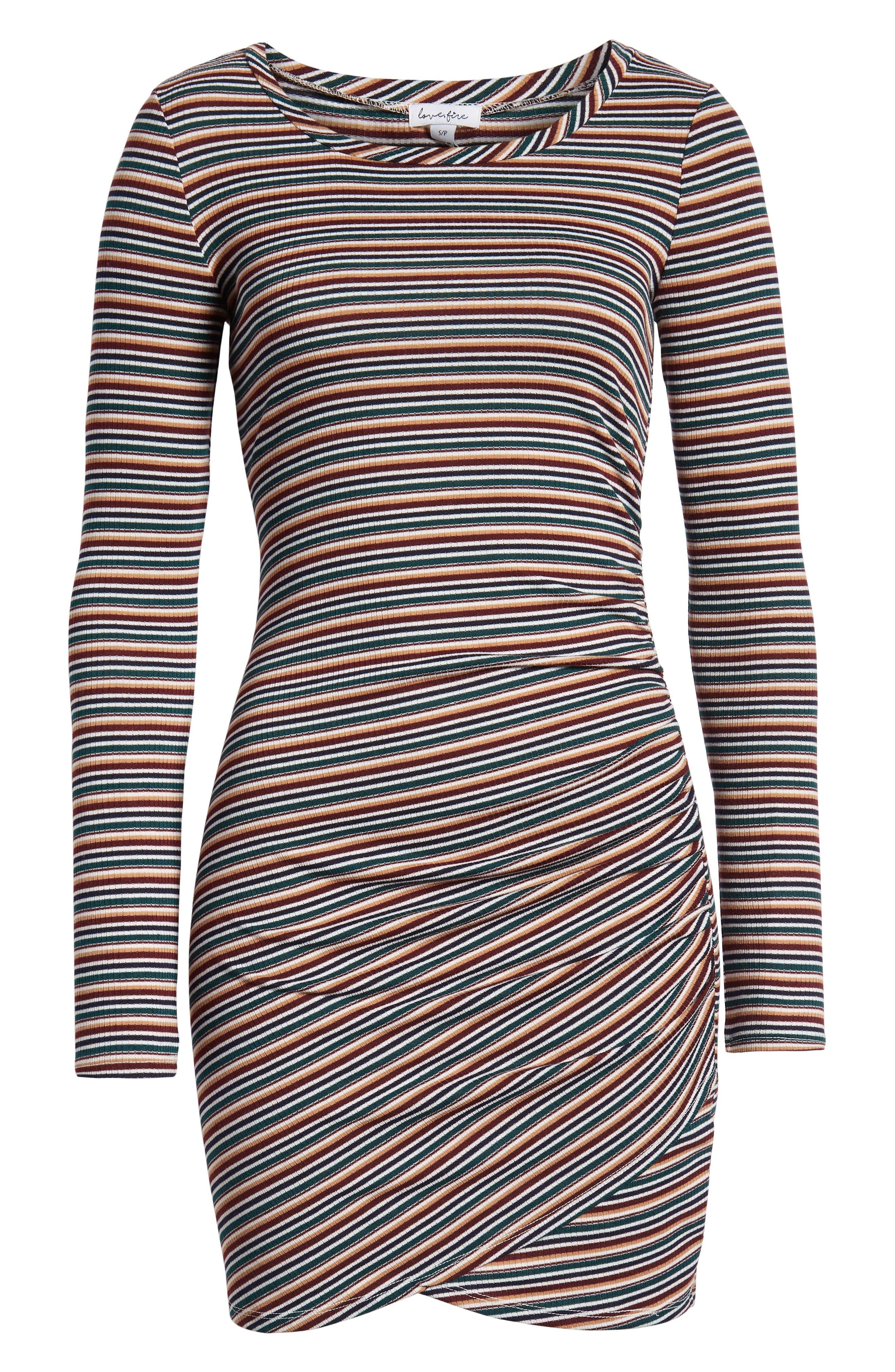 LOVE, FIRE,                             Ruched Stripe Minidress,                             Alternate thumbnail 7, color,                             020