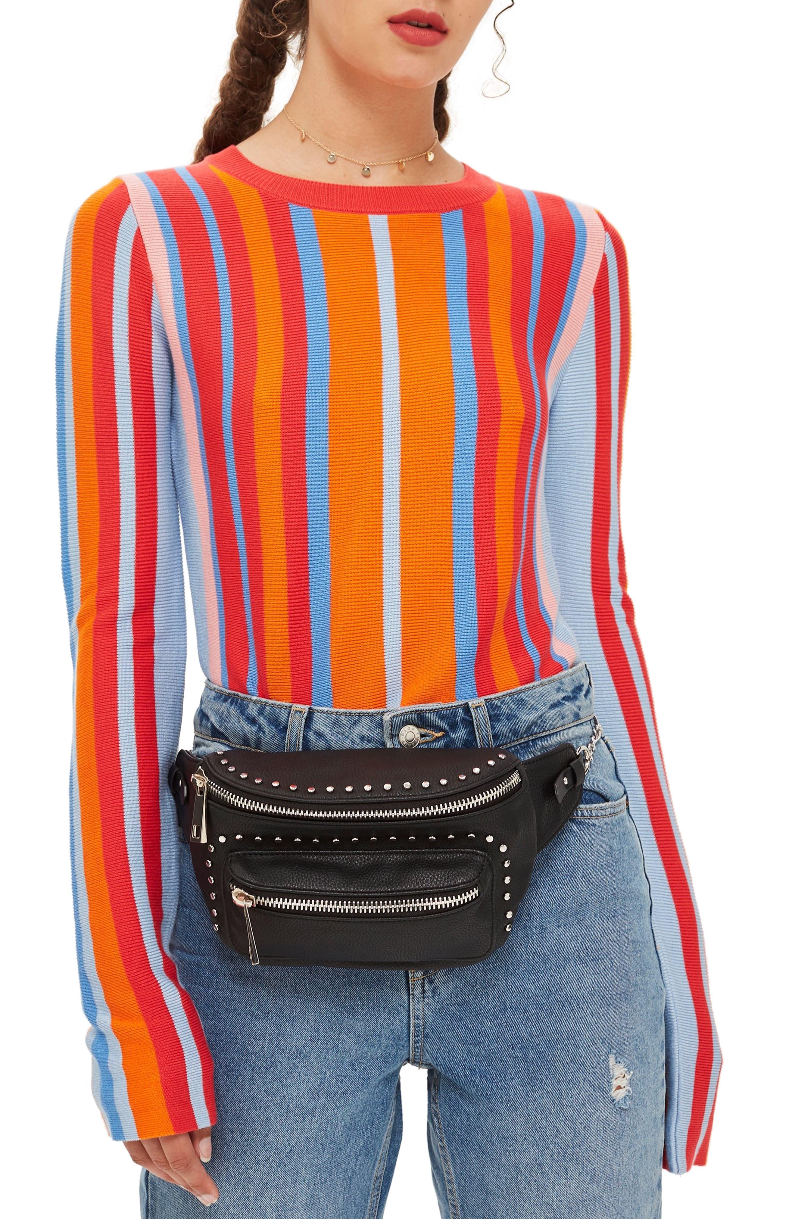 Branden Chain Belt Bag,                             Alternate thumbnail 2, color,                             BLACK