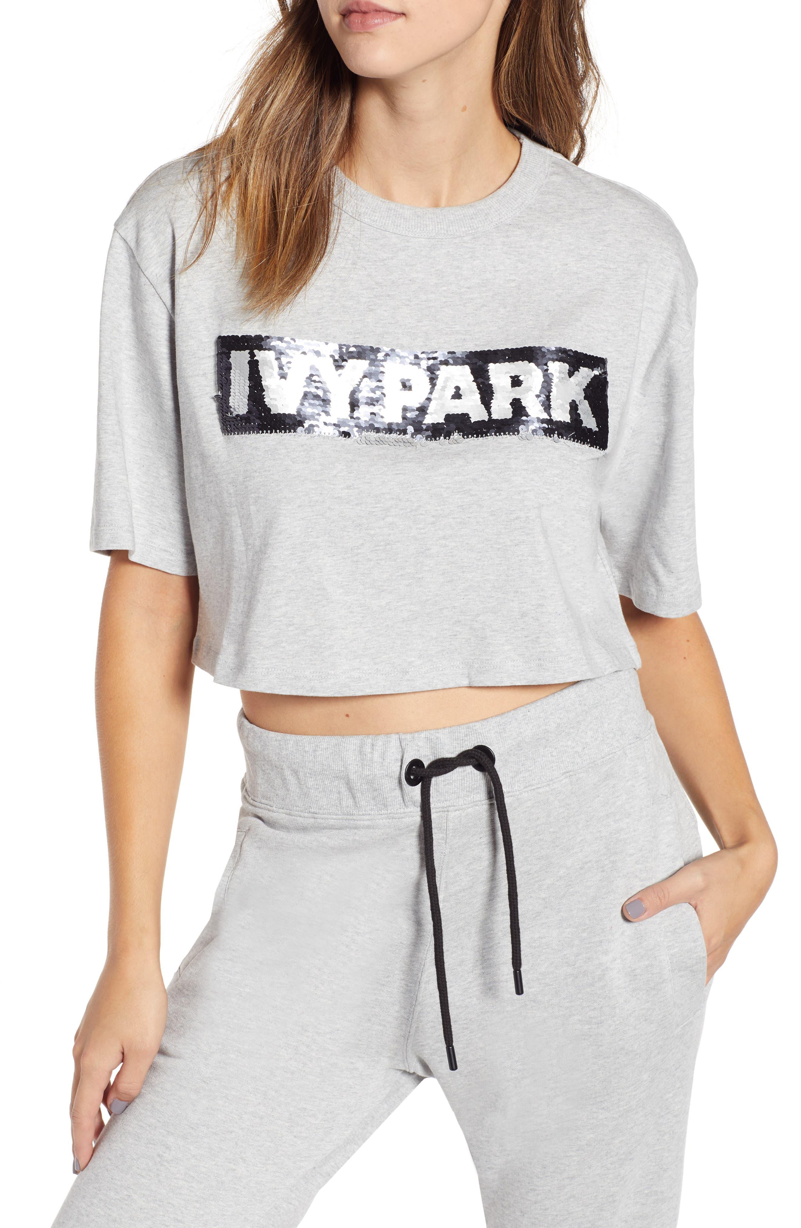 Ivy Park Sequin Logo Crop Tee, Grey