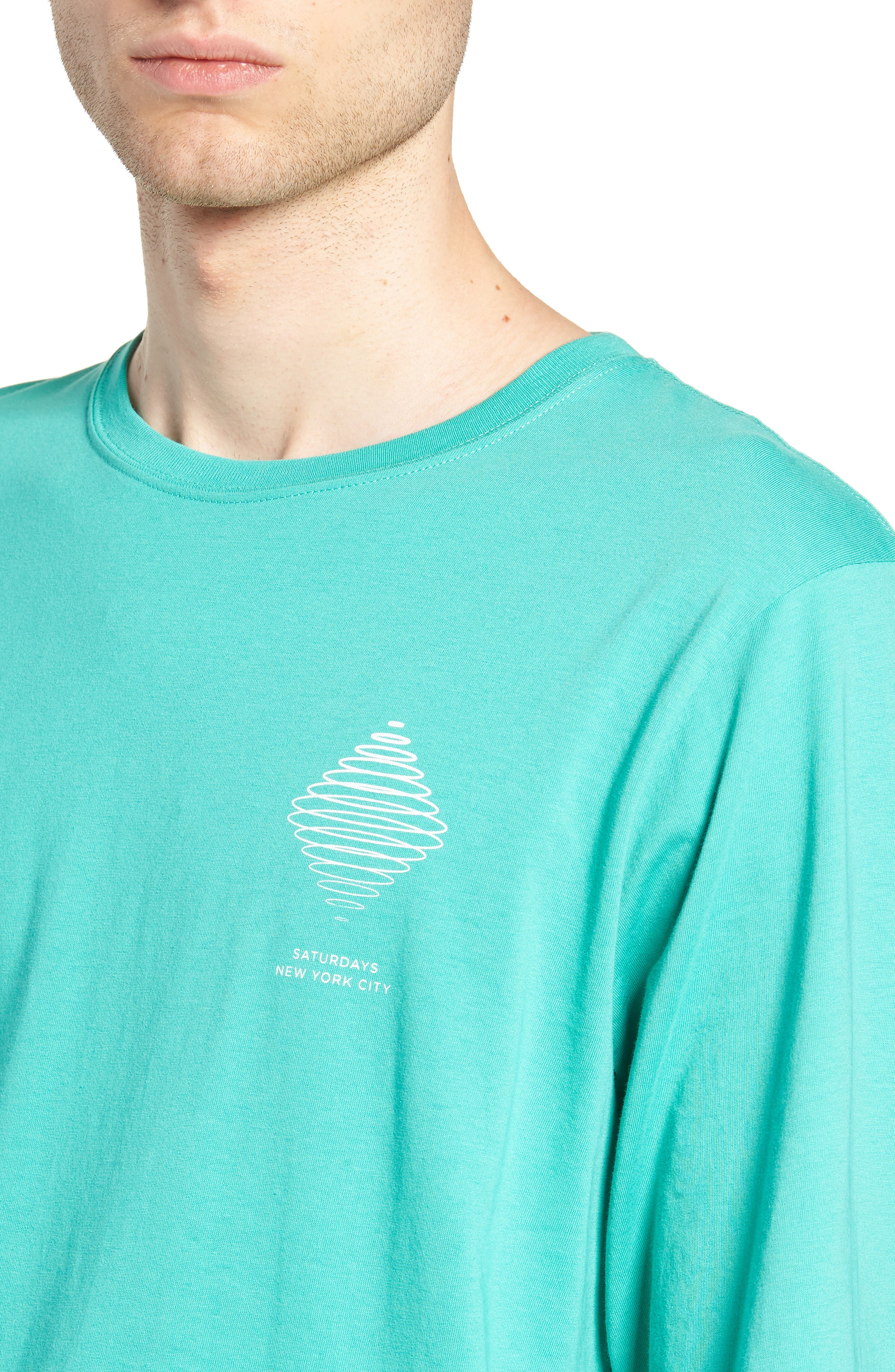 Diamond Spiral Long Sleeve T-Shirt,                             Alternate thumbnail 4, color,                             SEAFOAM GREEN