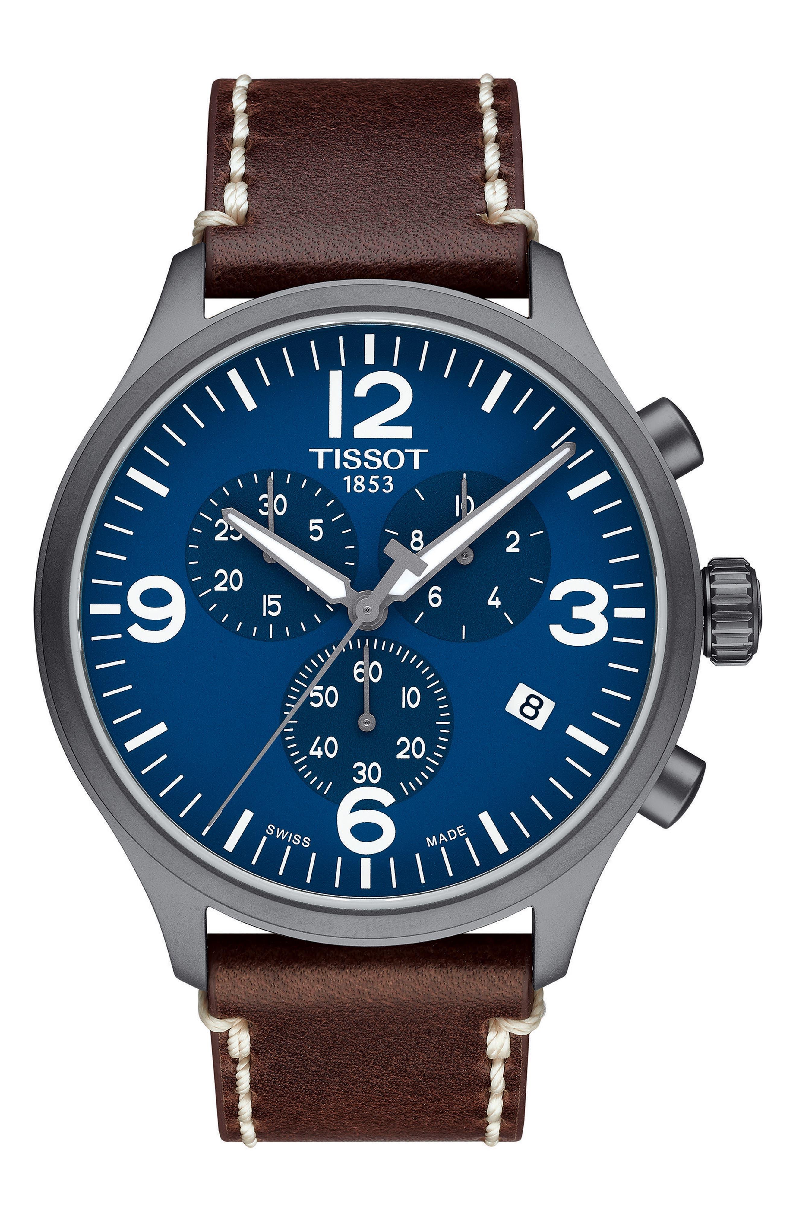TISSOT,                             Chrono XL Leather Strap Chronograph Watch, 45mm,                             Main thumbnail 1, color,                             BROWN/ BLUE/ BLACK