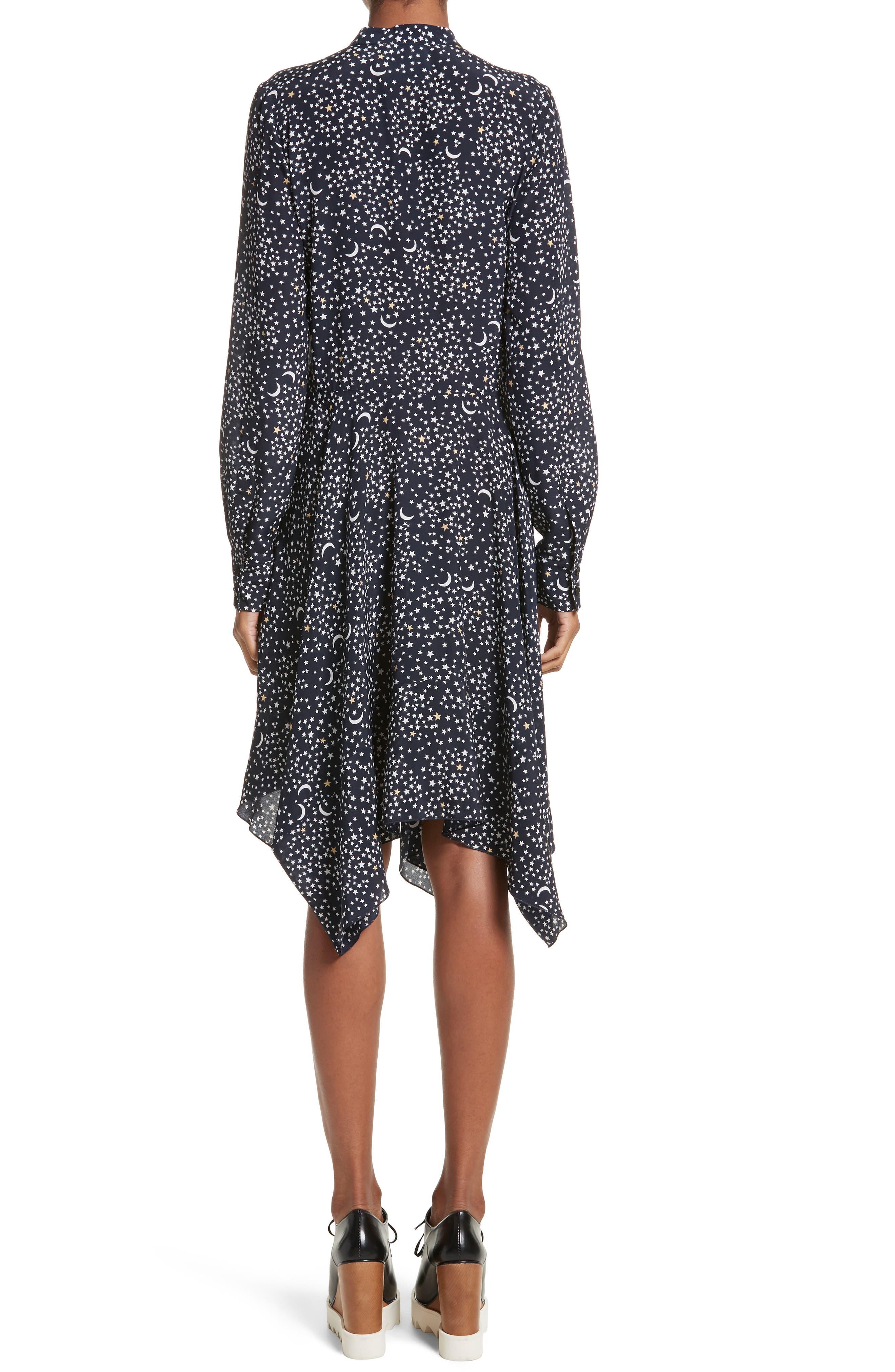 Moon Print Silk Dress,                             Alternate thumbnail 2, color,