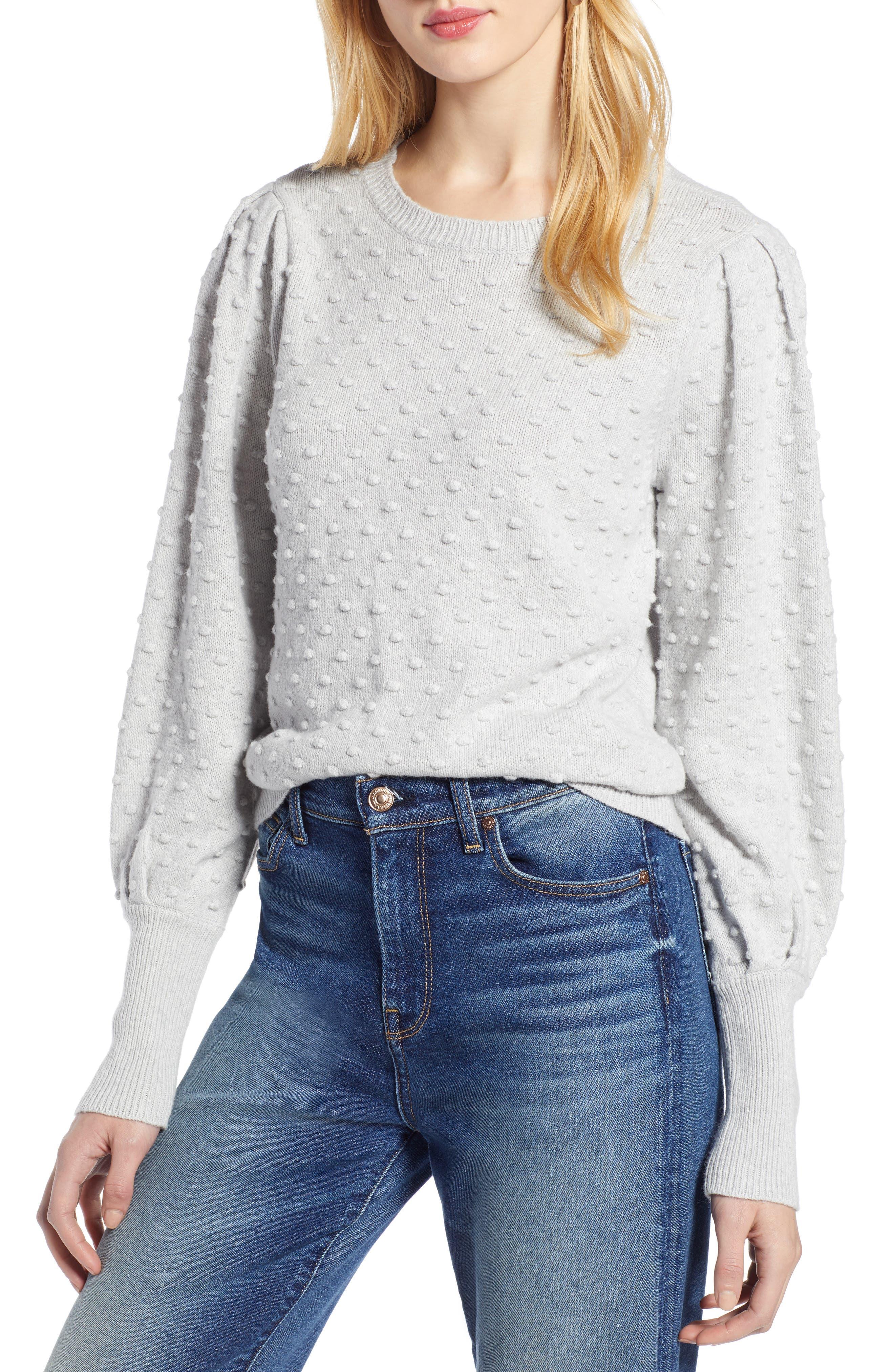 Bobble Stitch Sweater,                             Main thumbnail 1, color,                             GREY LIGHT HEATHER