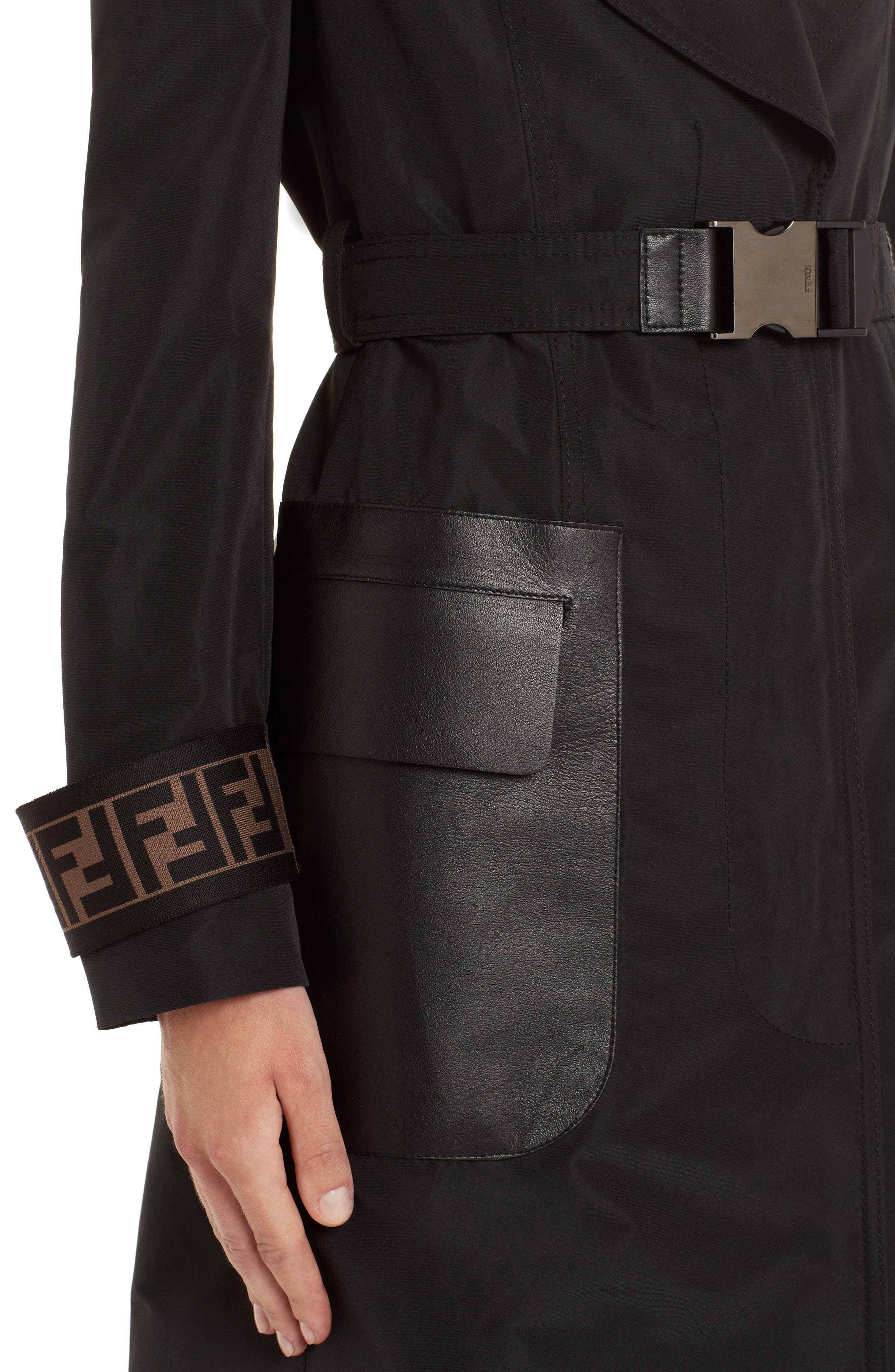 Leather Pocket Trench Coat,                             Alternate thumbnail 4, color,                             BLACK