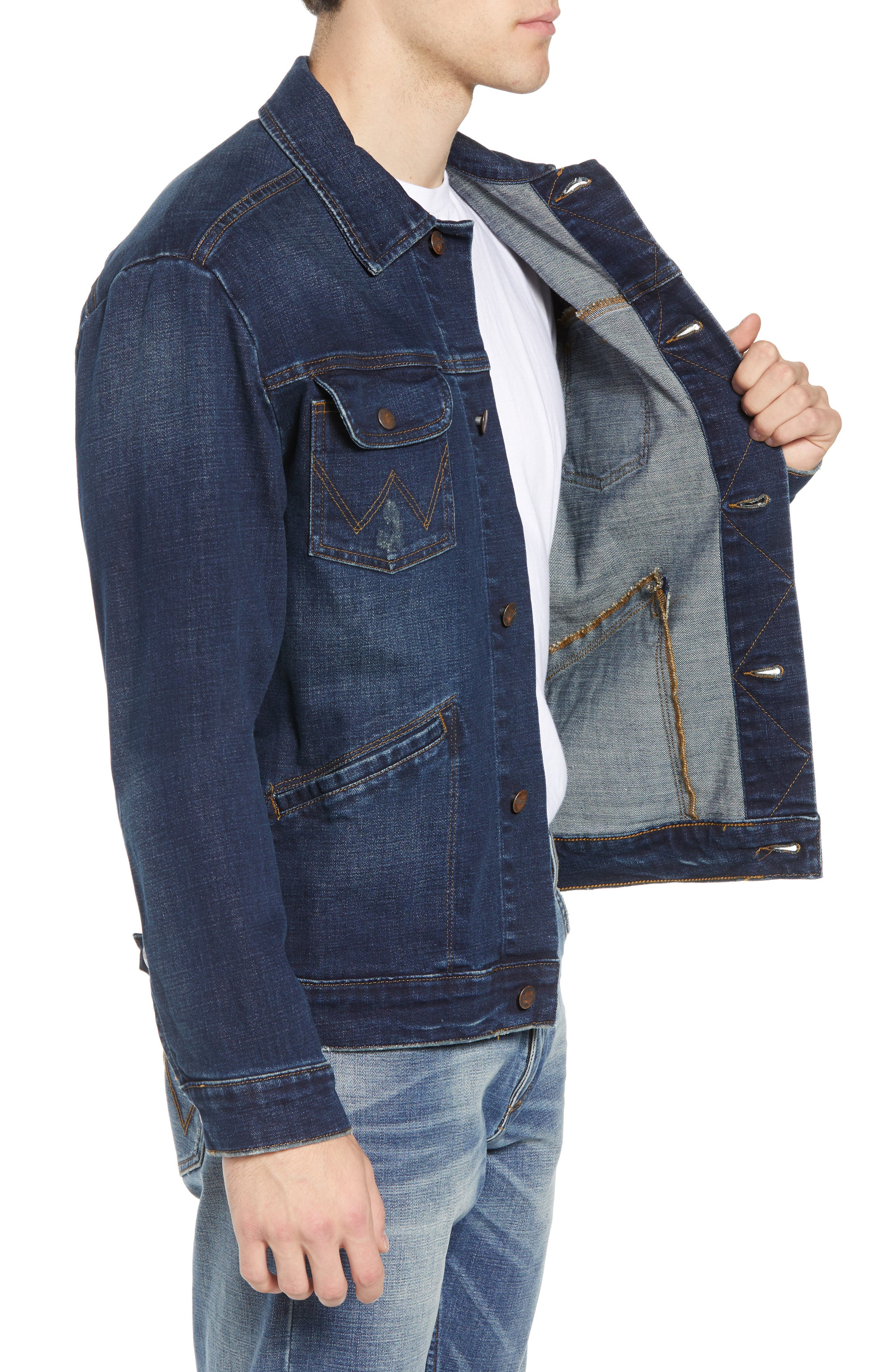 Heritage Denim Jacket,                             Alternate thumbnail 3, color,                             DARK WASH
