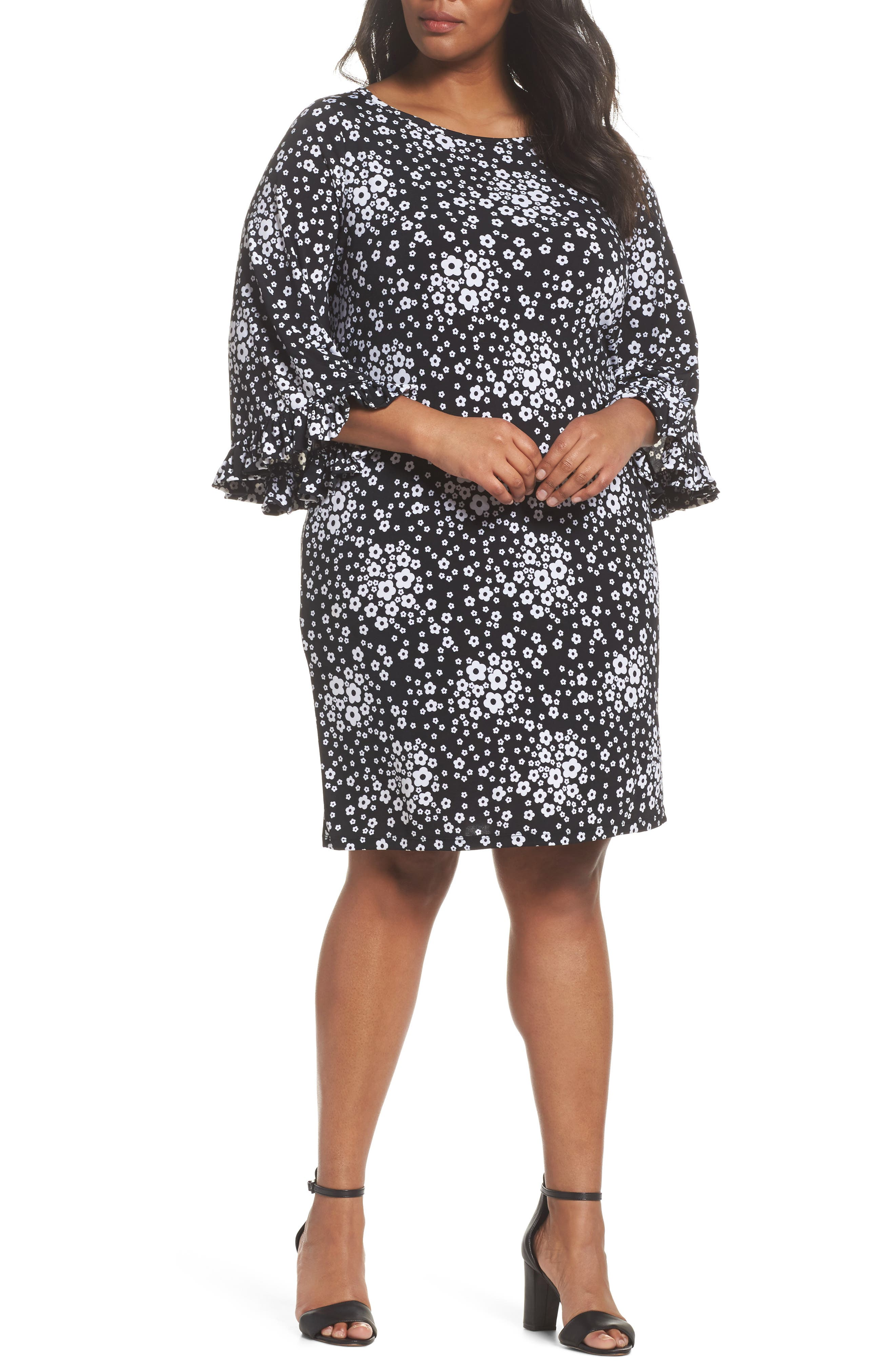 Mod Floral Flutter Sleeve Dress,                             Main thumbnail 1, color,                             018