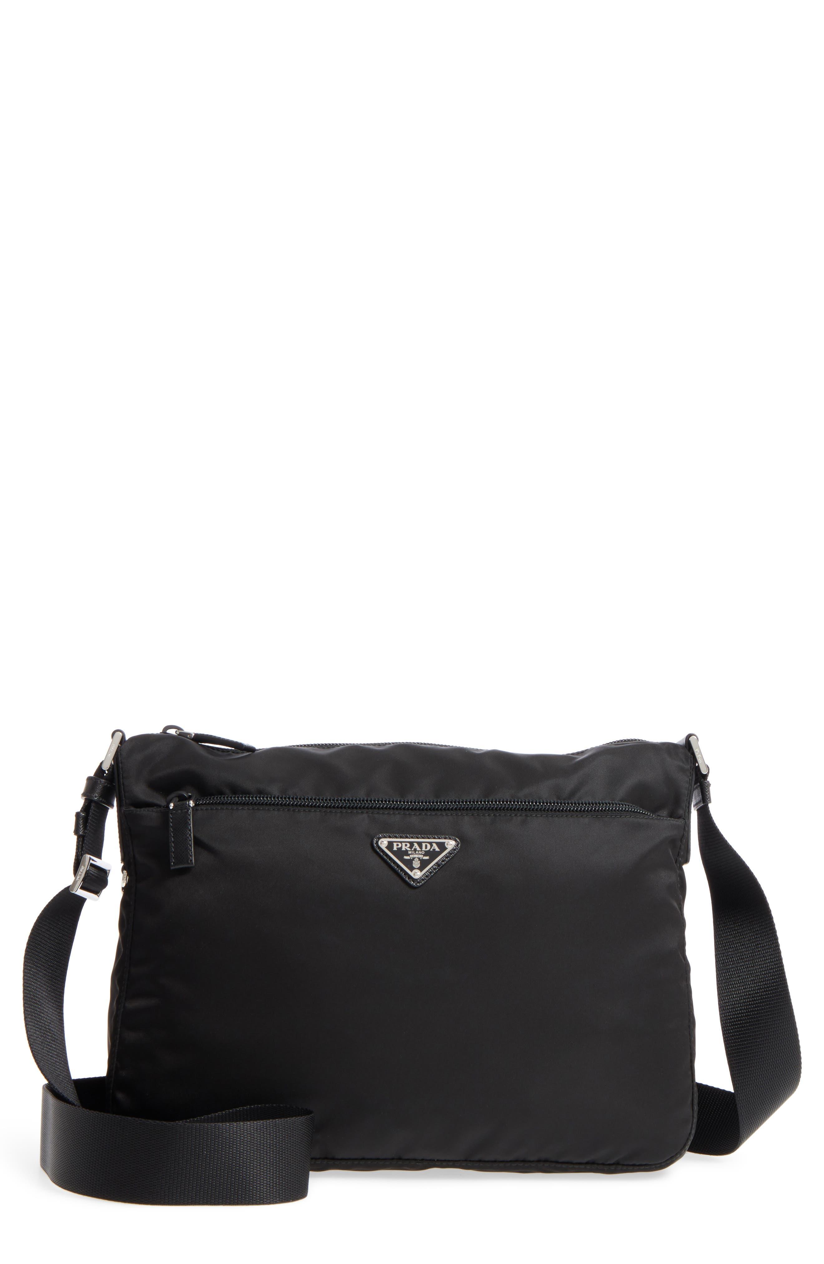 Large Nylon Crossbody Bag,                             Main thumbnail 1, color,                             NERO