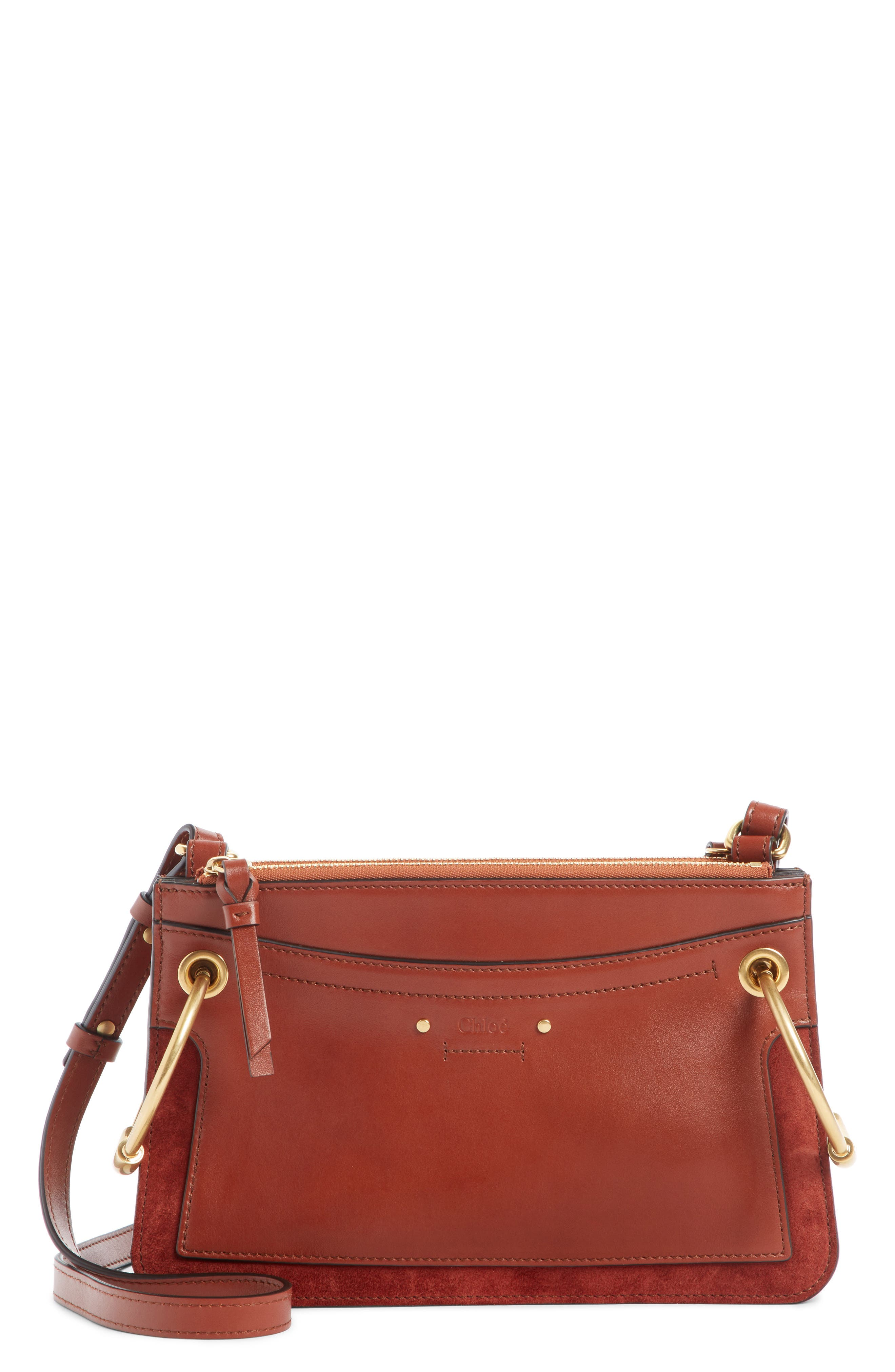 Small Roy Leather Shoulder Bag,                             Main thumbnail 1, color,                             SEPIA BROWN