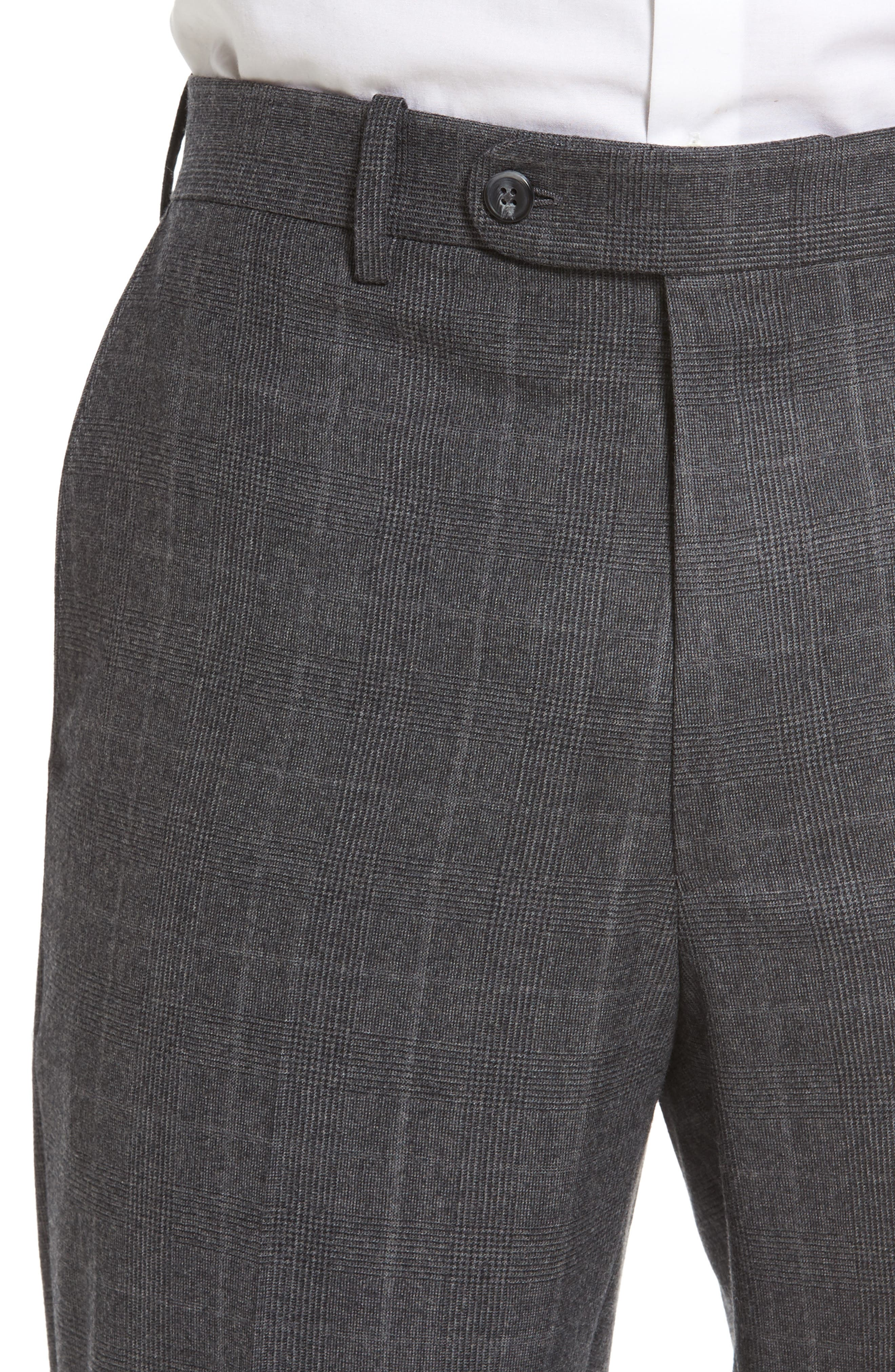 Flat Front Plaid Wool Trousers,                             Alternate thumbnail 5, color,                             032