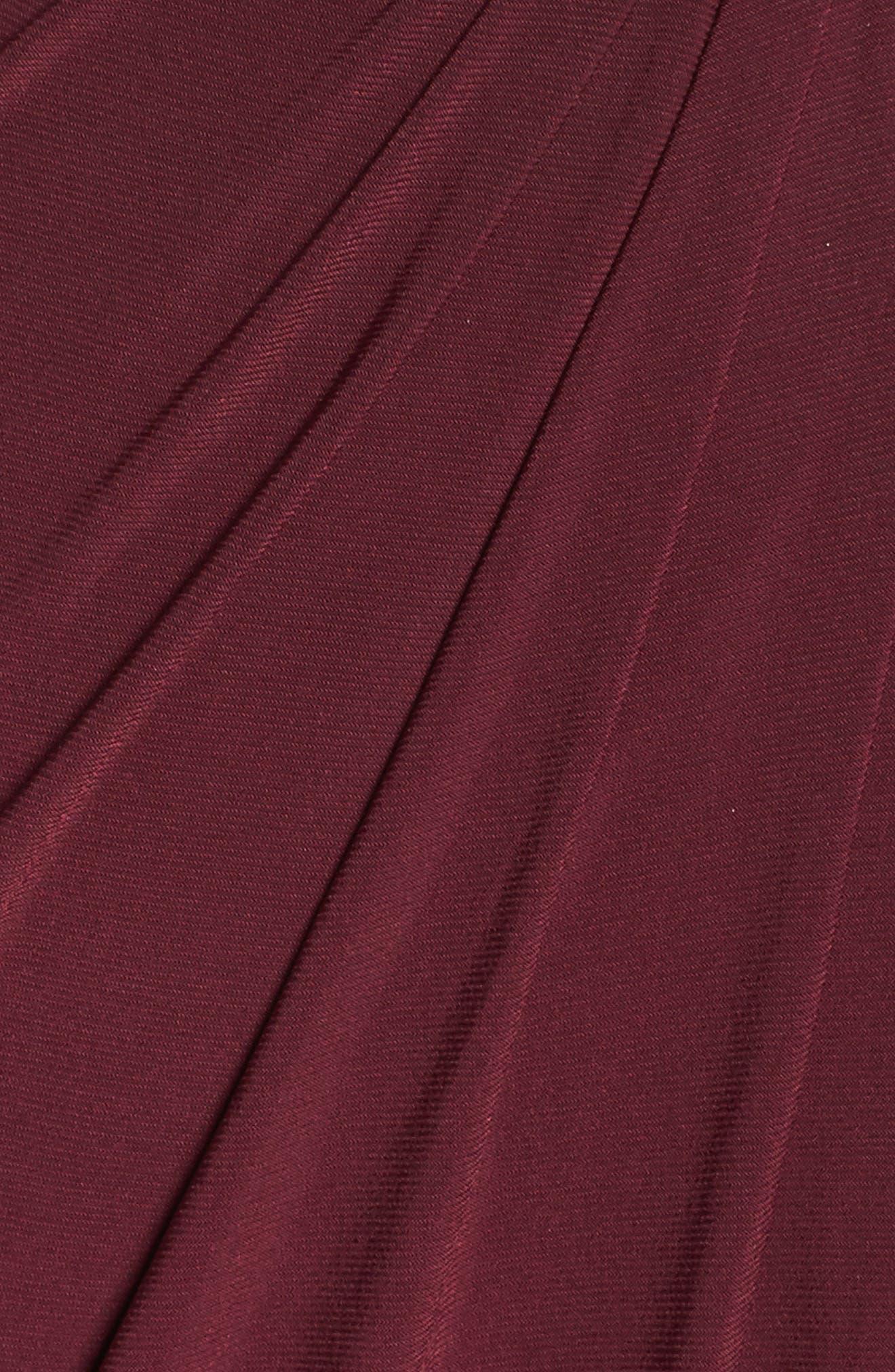 Embellished Shoulder Jersey Gown,                             Alternate thumbnail 5, color,                             BURGUNDY