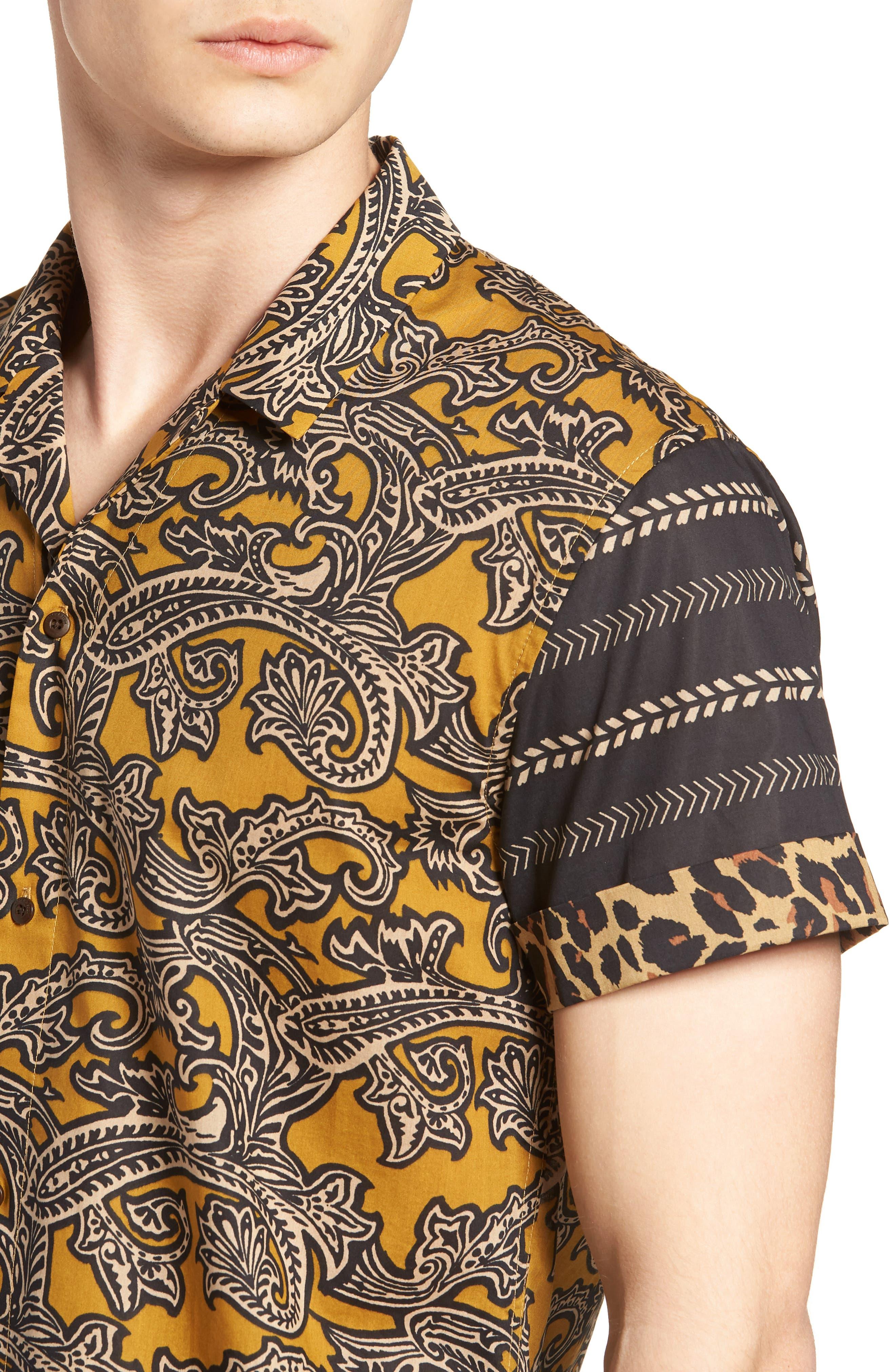 Woven Print Shirt,                             Alternate thumbnail 4, color,                             800