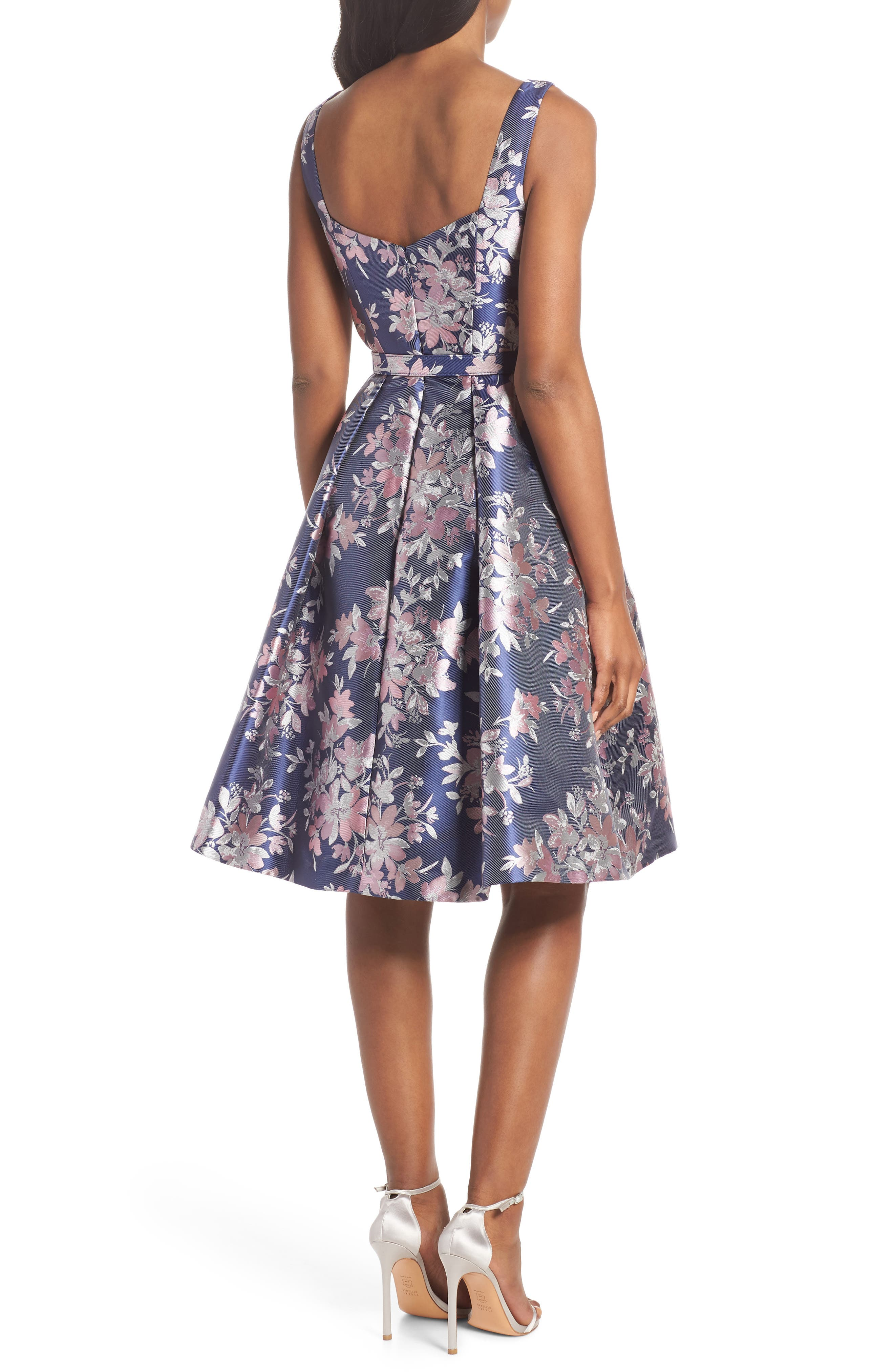 Floral Jacquard Fit & Flare Dress,                             Alternate thumbnail 2, color,                             NAVY