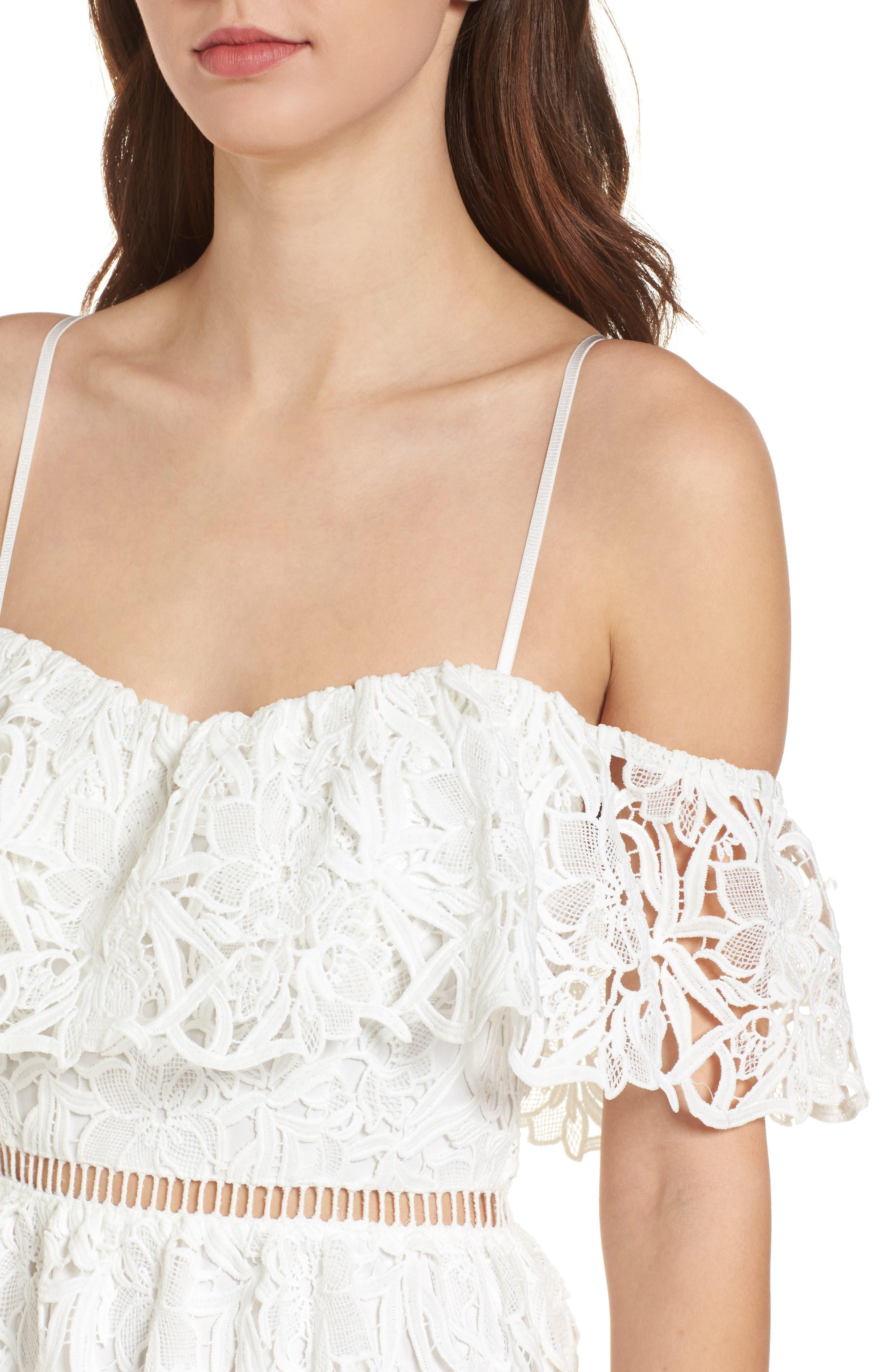 Lace Off the Shoulder Midi Dress,                             Alternate thumbnail 4, color,                             100