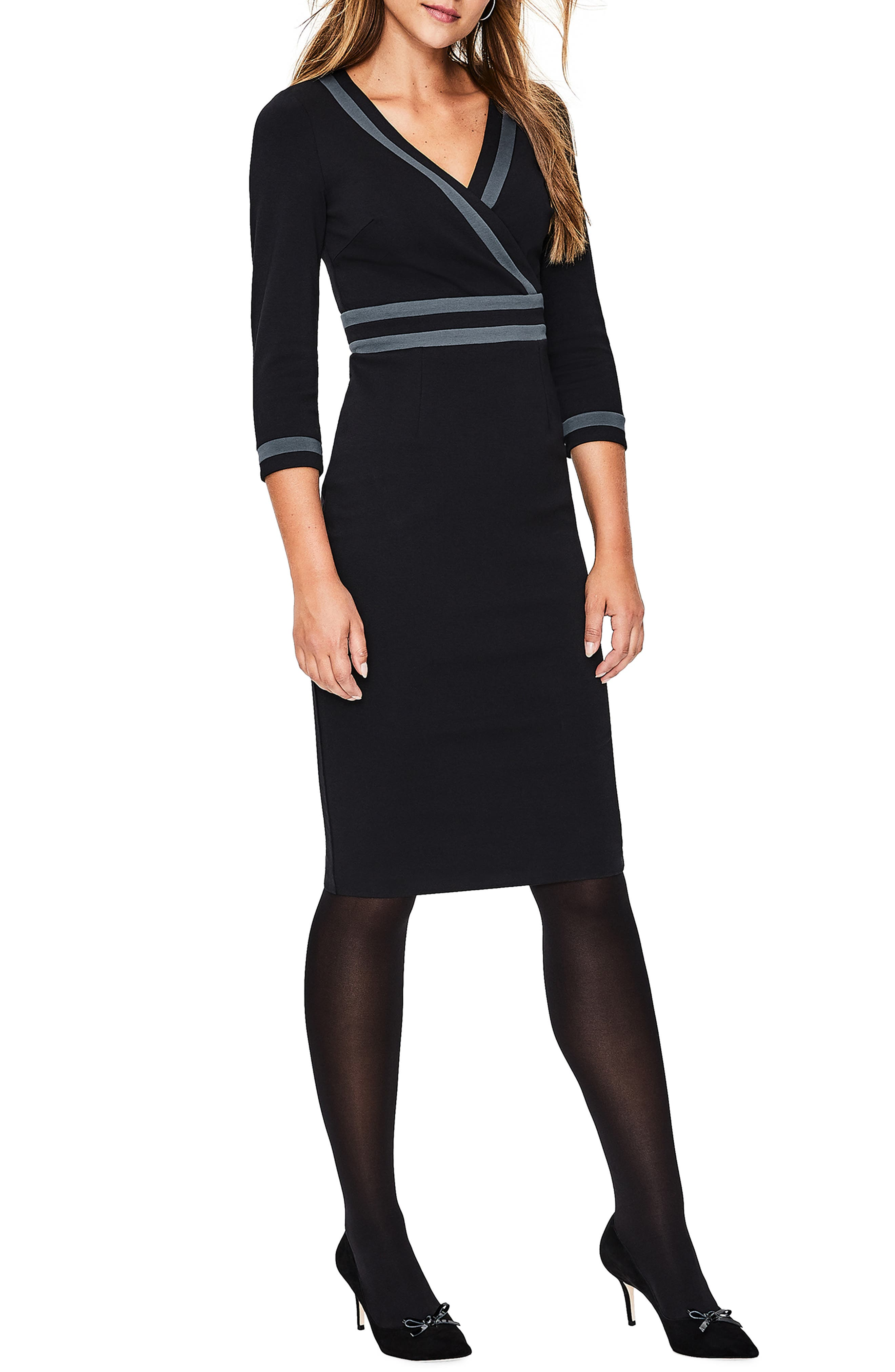 Nellie Ponte Knit Dress,                             Main thumbnail 1, color,                             BLACK