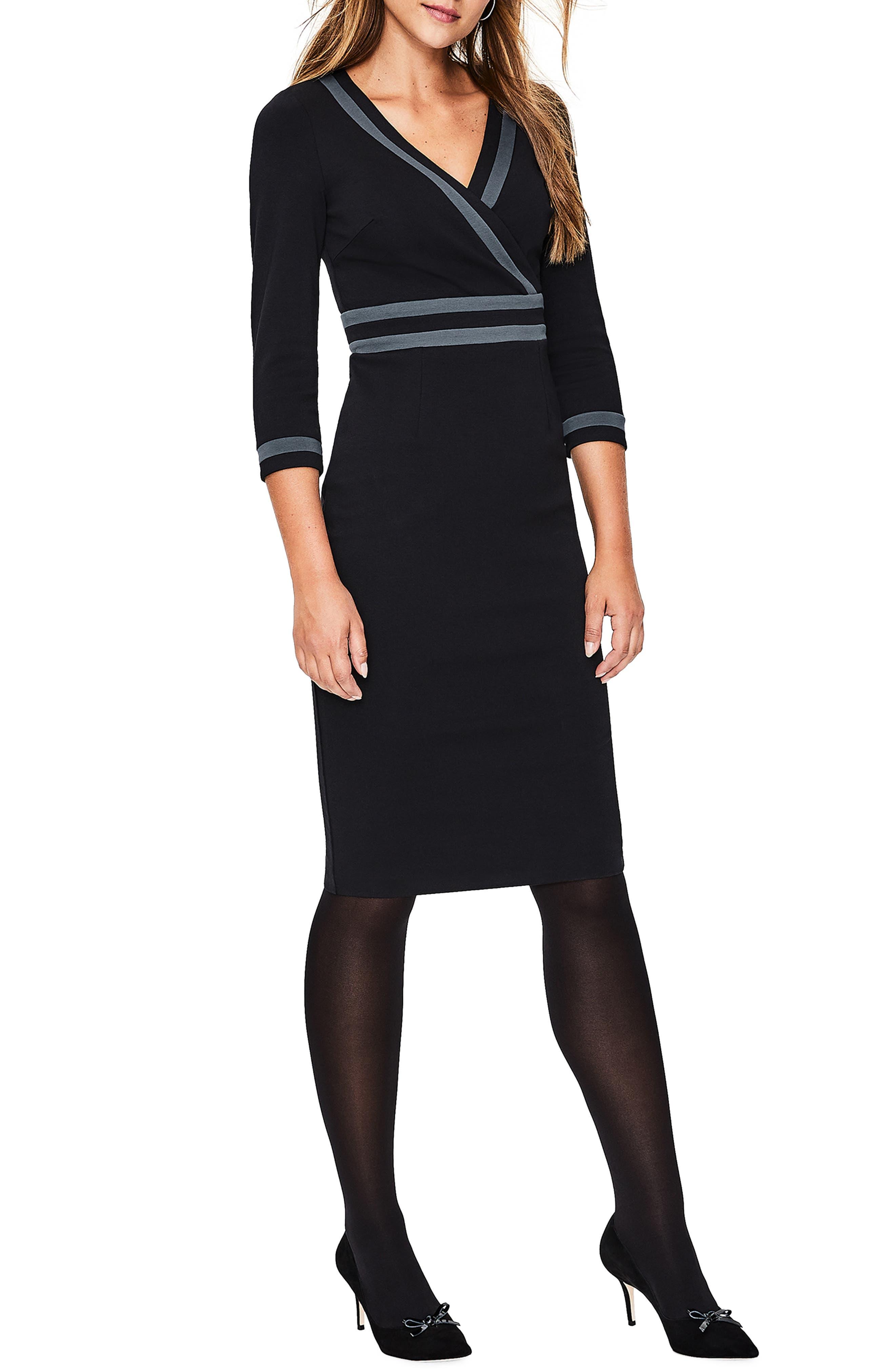 Nellie Ponte Knit Dress,                         Main,                         color, BLACK