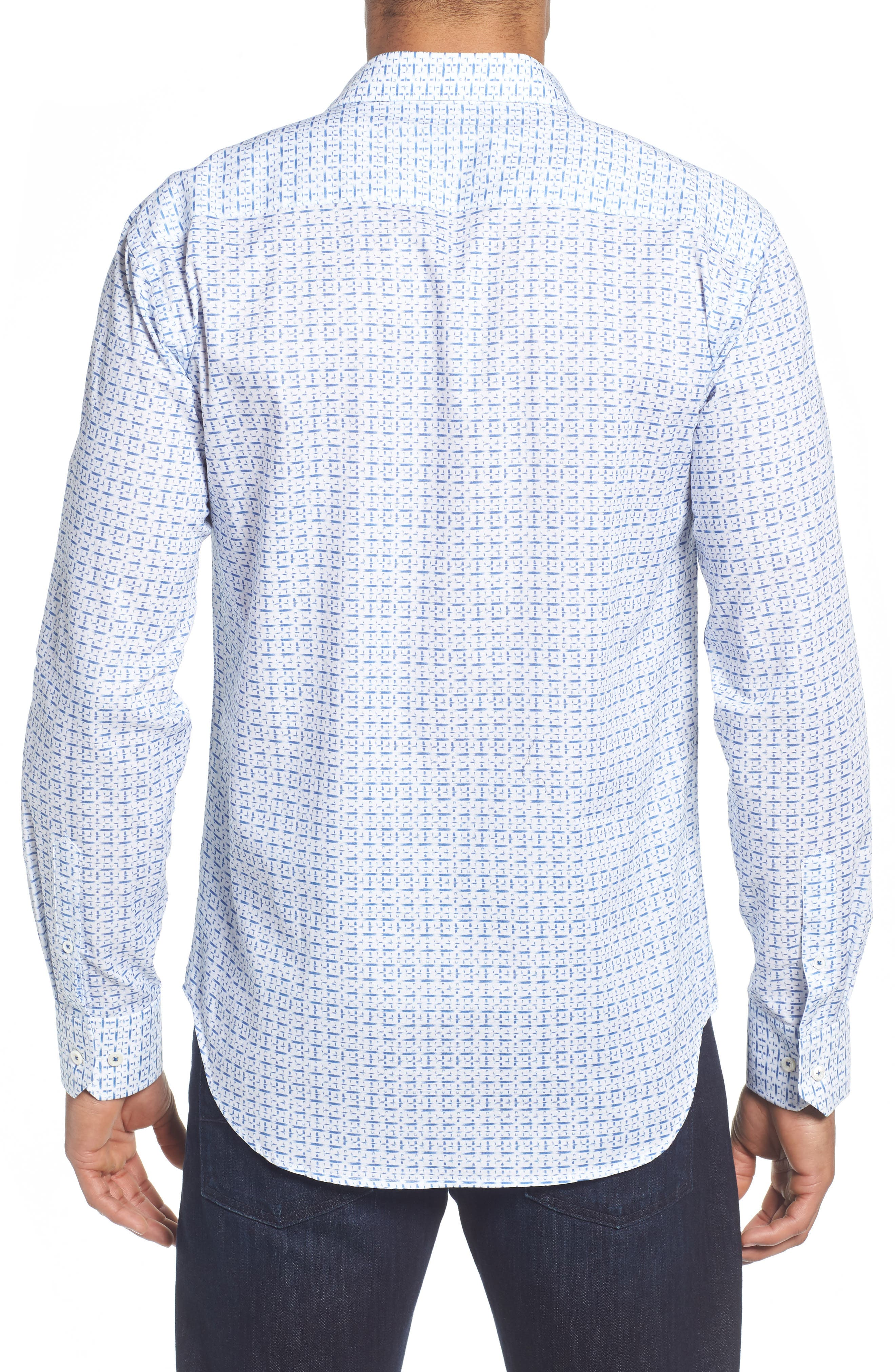 Shaped Fit Print Sport Shirt,                             Alternate thumbnail 2, color,                             CLASSIC BLUE
