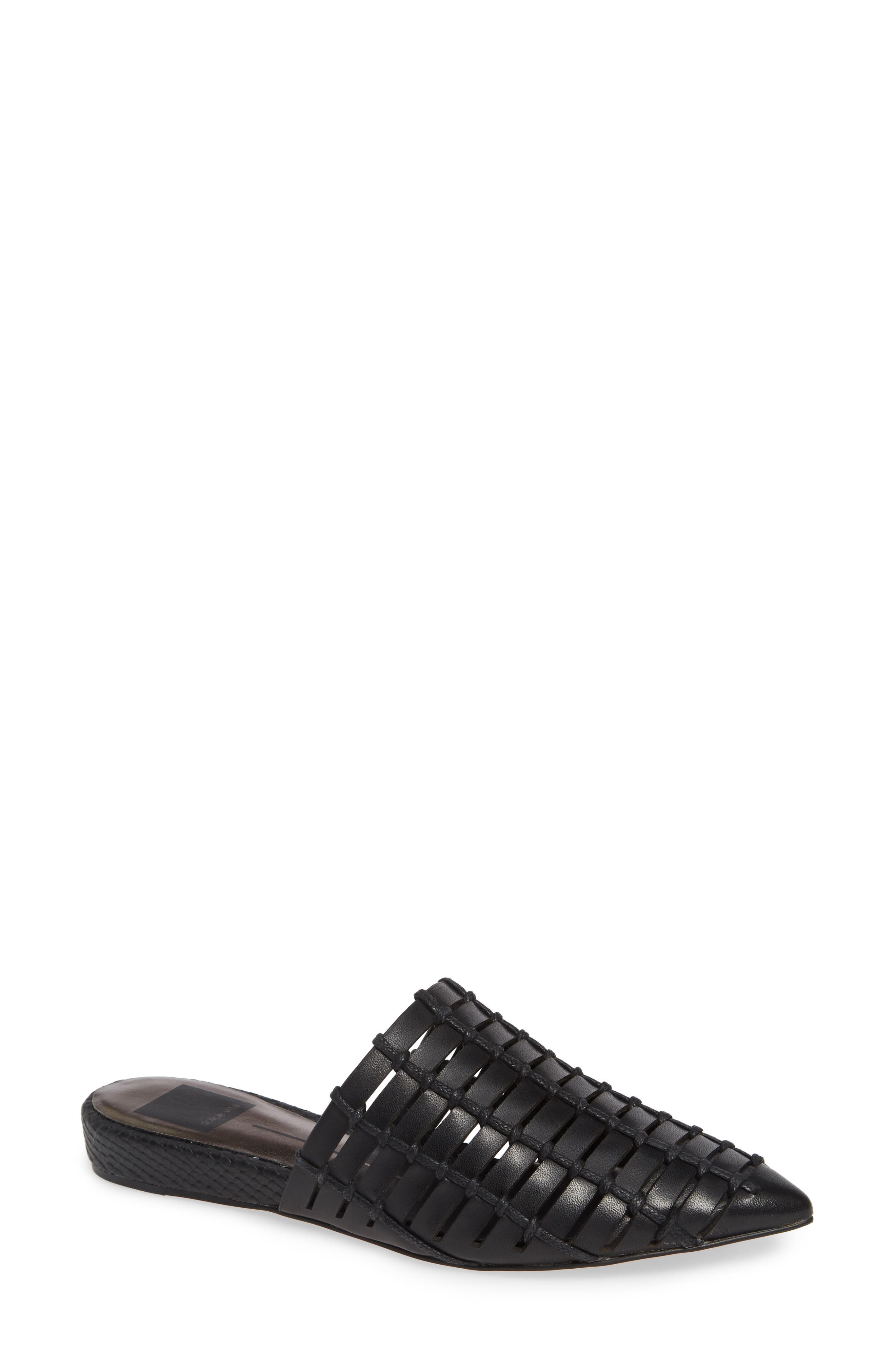 DOLCE VITA Elina Woven Mule, Main, color, BLACK LEATHER