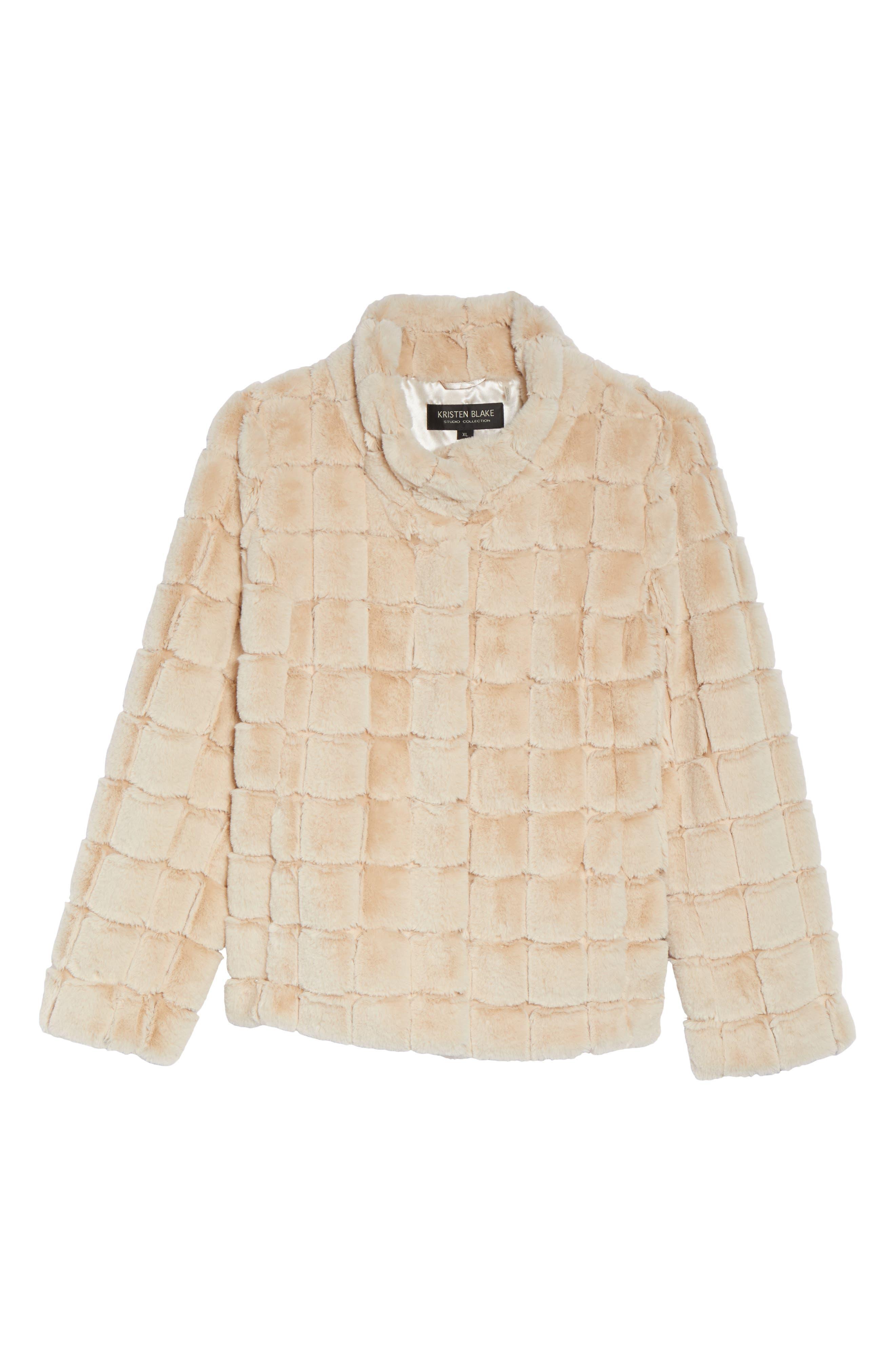 Faux Fur Jacket,                             Alternate thumbnail 5, color,                             BLUSH