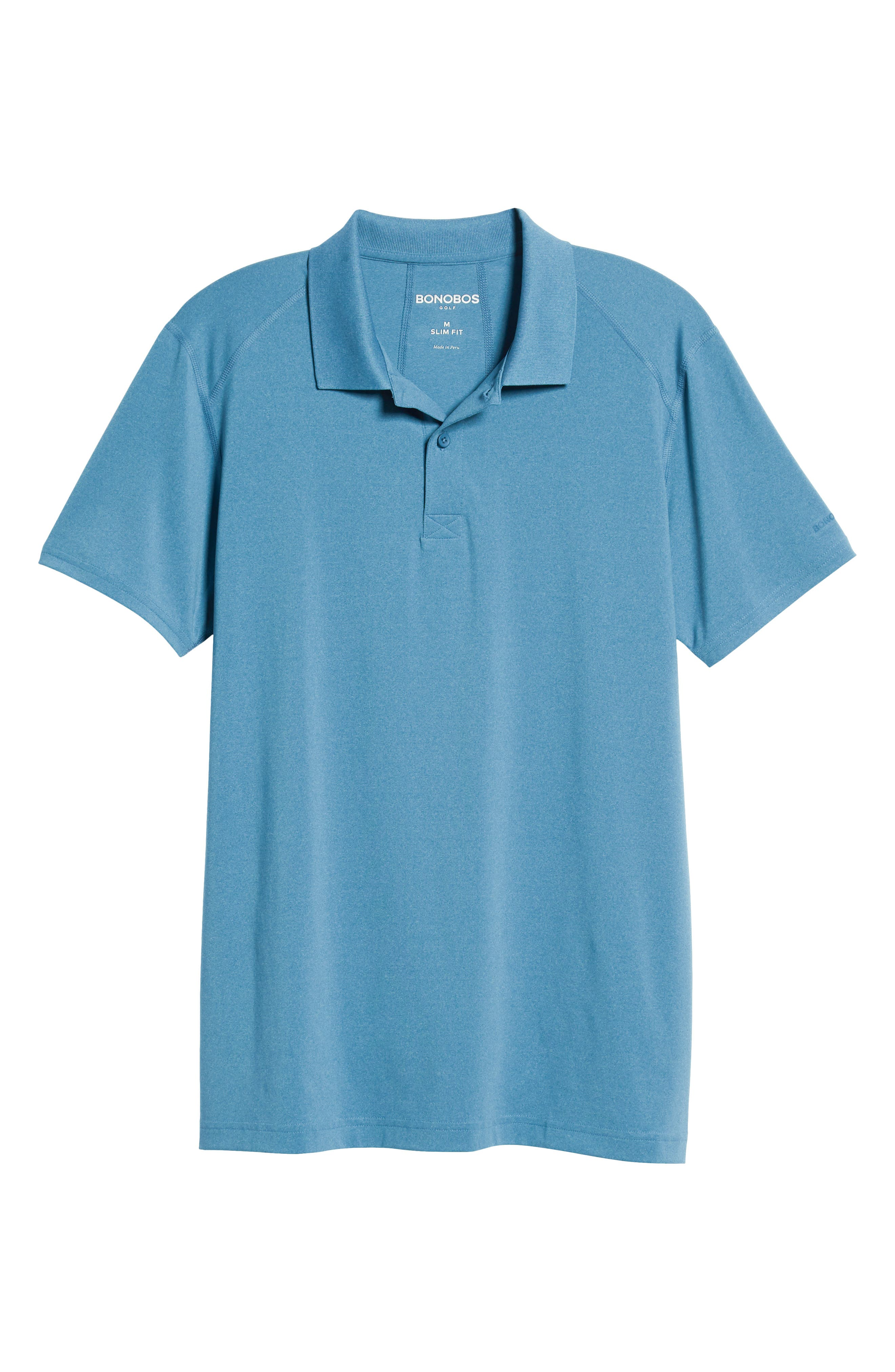 M-Flex Flatiron Slim Fit Golf Polo,                             Alternate thumbnail 6, color,                             HEATHERED BLUE