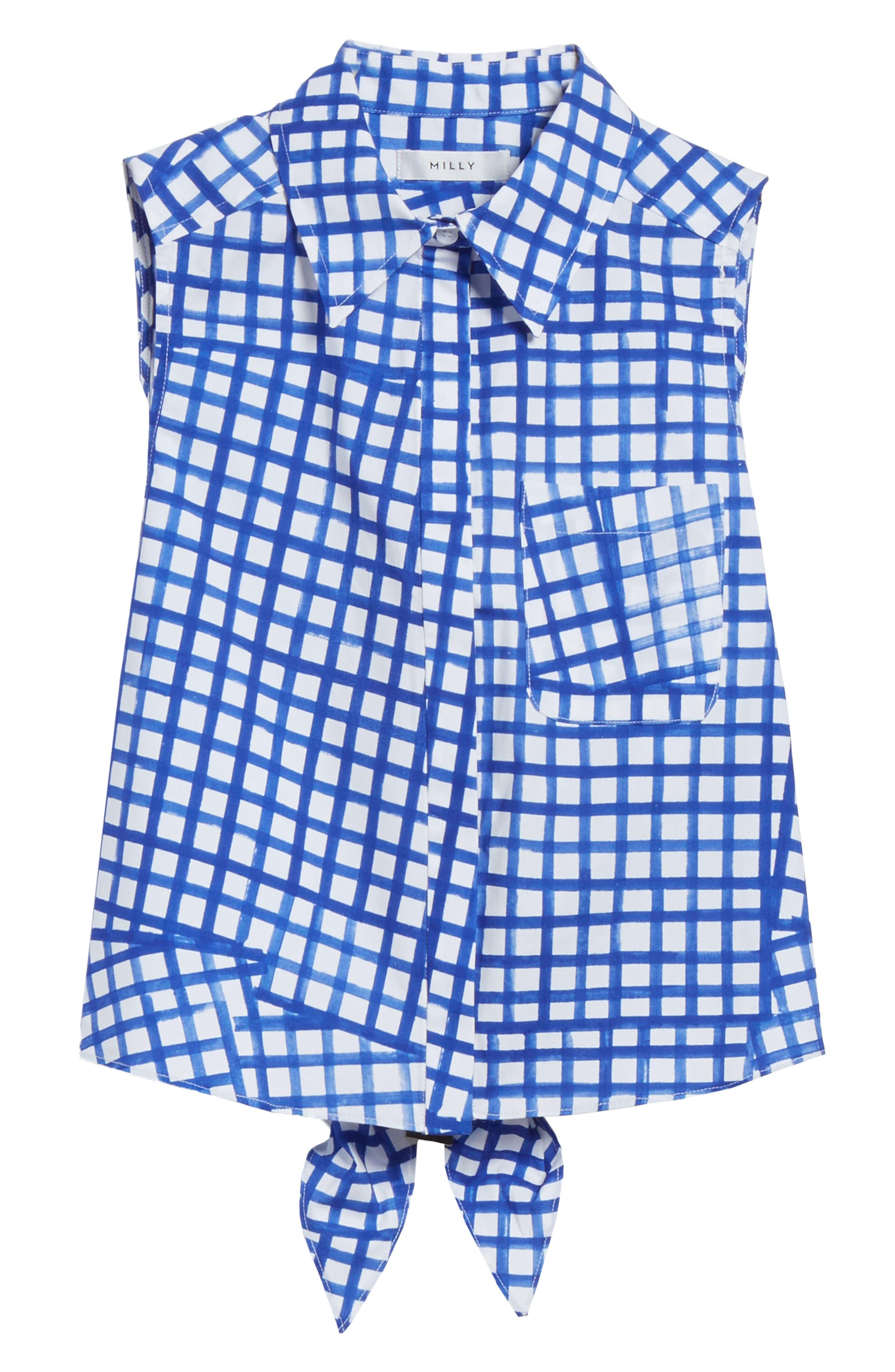 Leah Tie Back Stretch Cotton Blouse,                             Alternate thumbnail 6, color,                             473