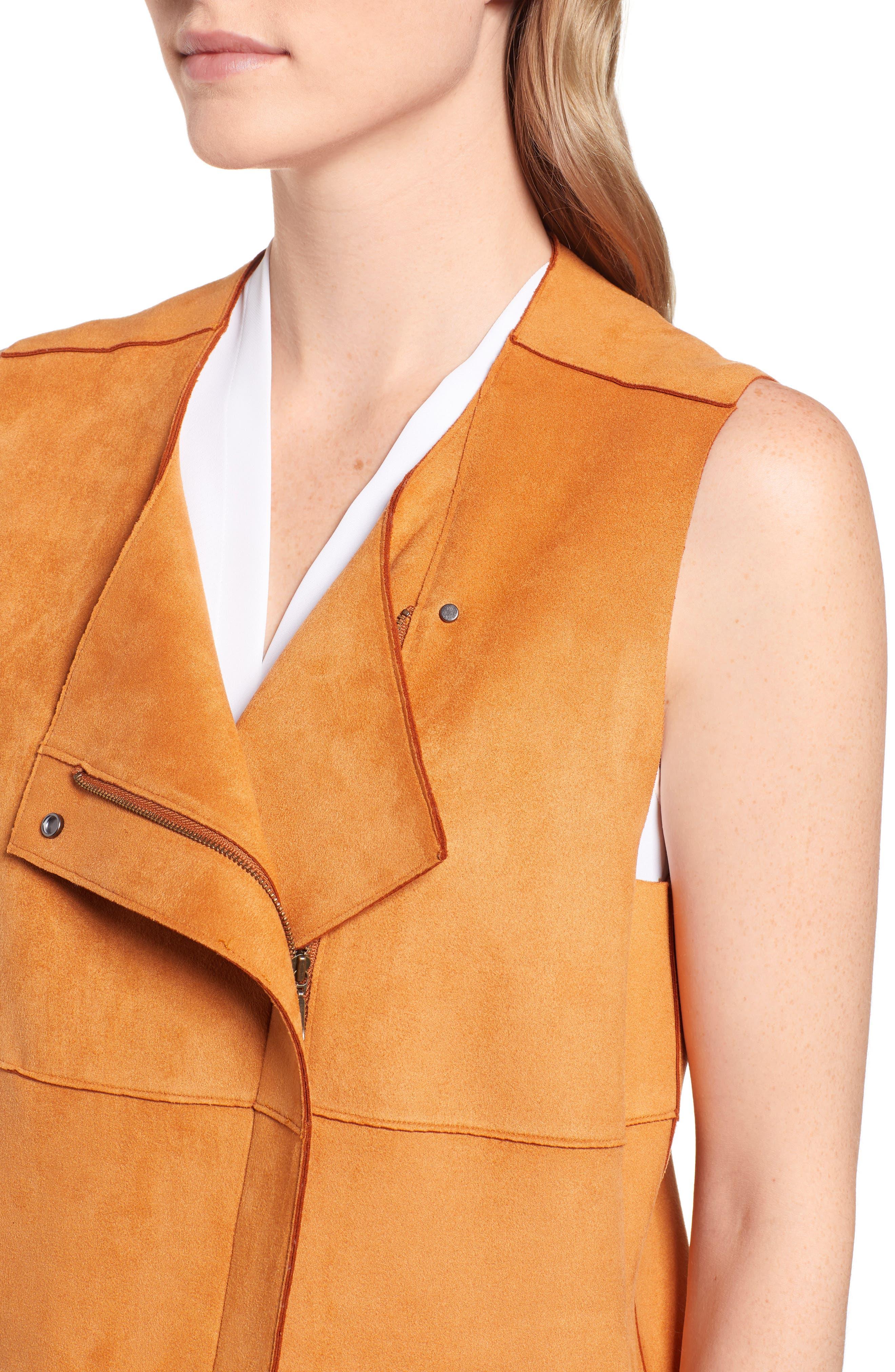 Asymmetrical Faux Suede Vest,                             Alternate thumbnail 4, color,                             COGNAC