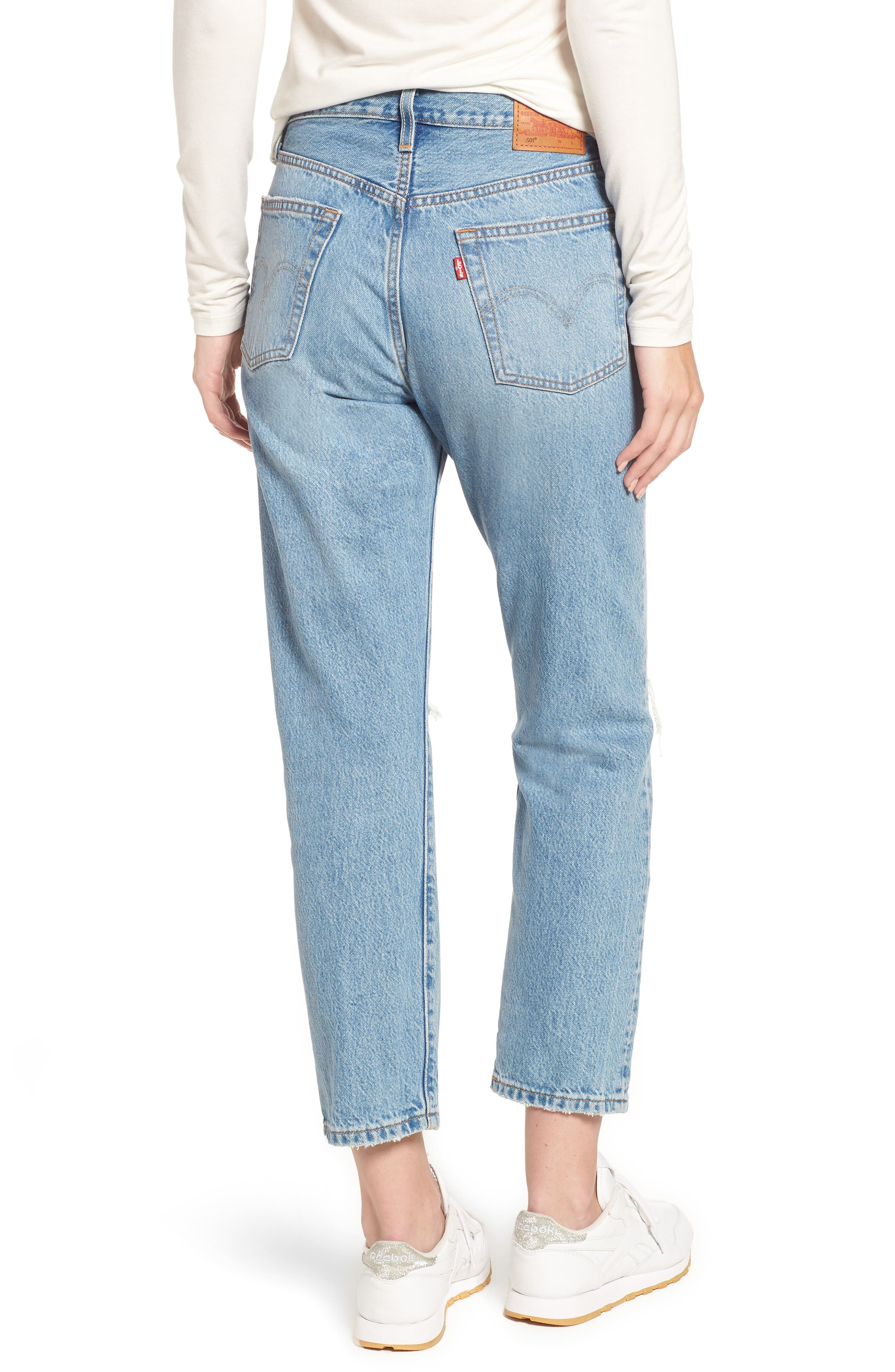 501<sup>®</sup> Ripped High Waist Crop Jeans,                             Alternate thumbnail 2, color,                             420